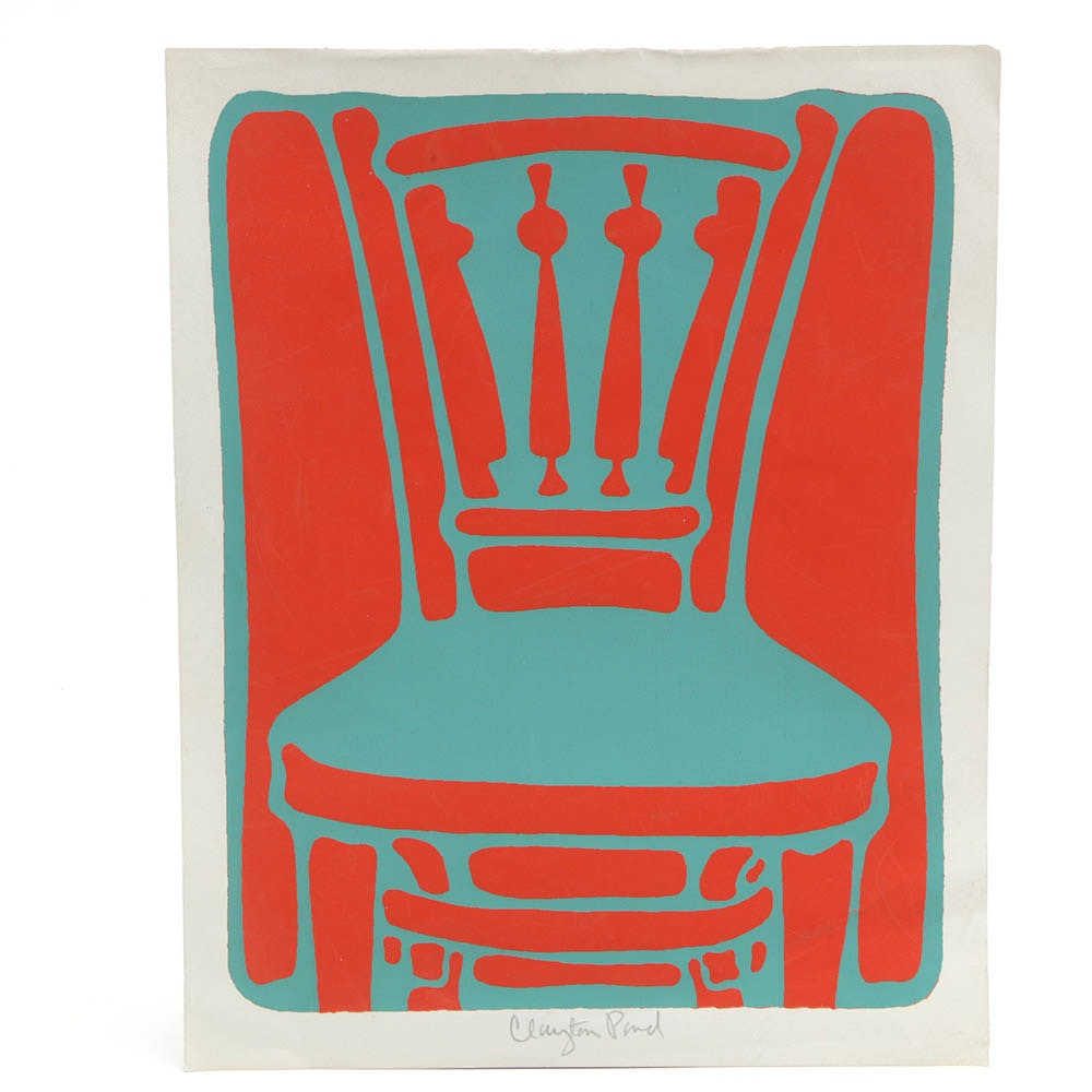 "Clayton Pond Serigraph ""The Other Chair"""
