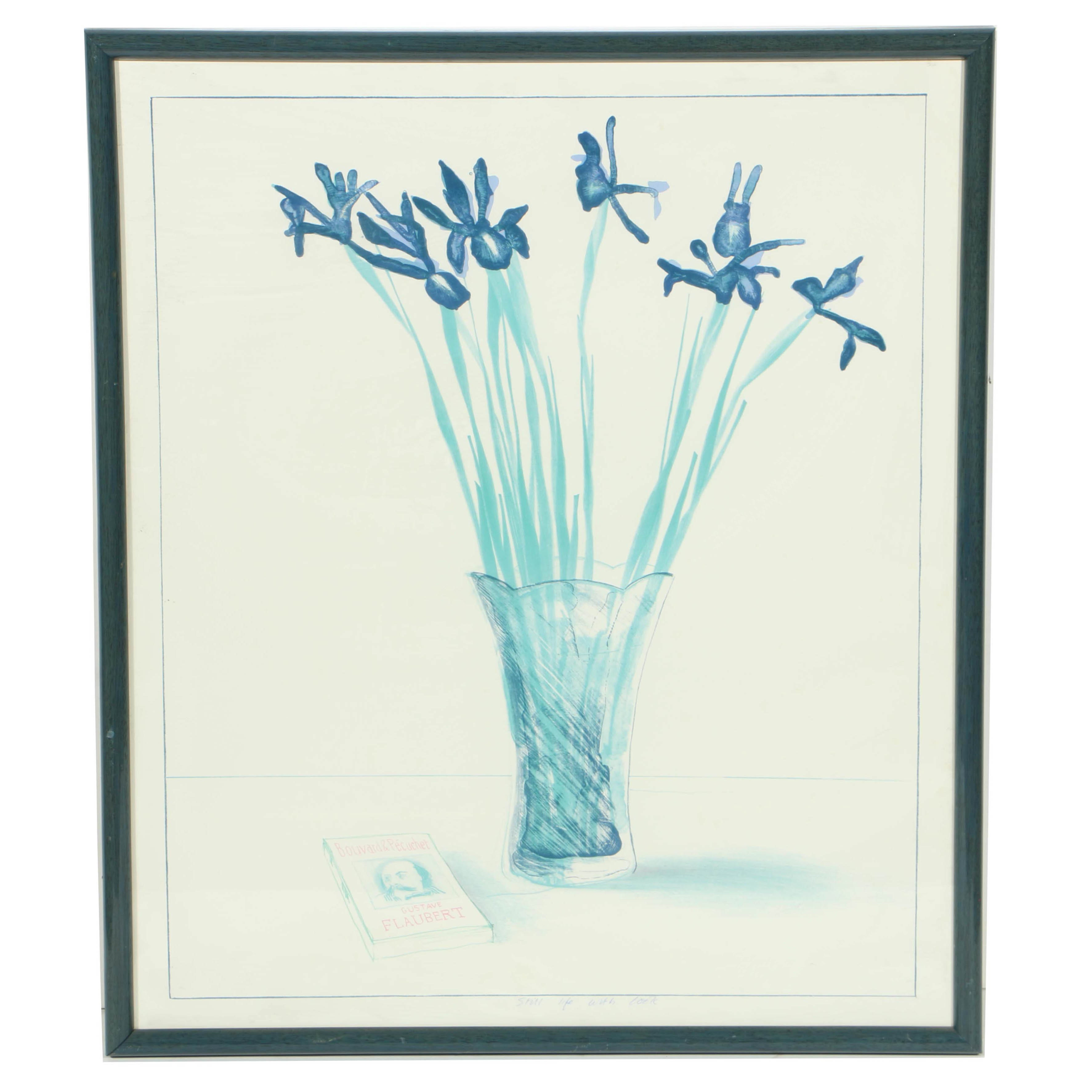 """Offset Lithograph on Paper After David Hockney's """"Still Life with Book"""""""