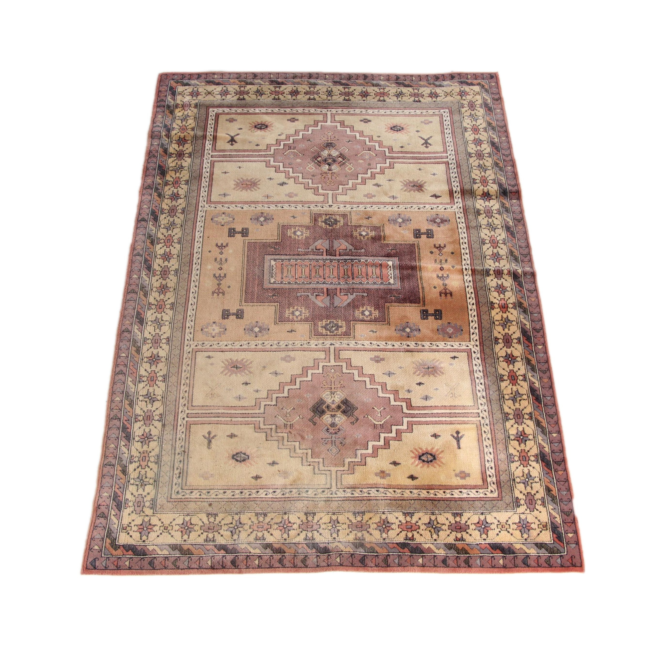Power-Loomed Caucasian Style Carved Wool Area Rug
