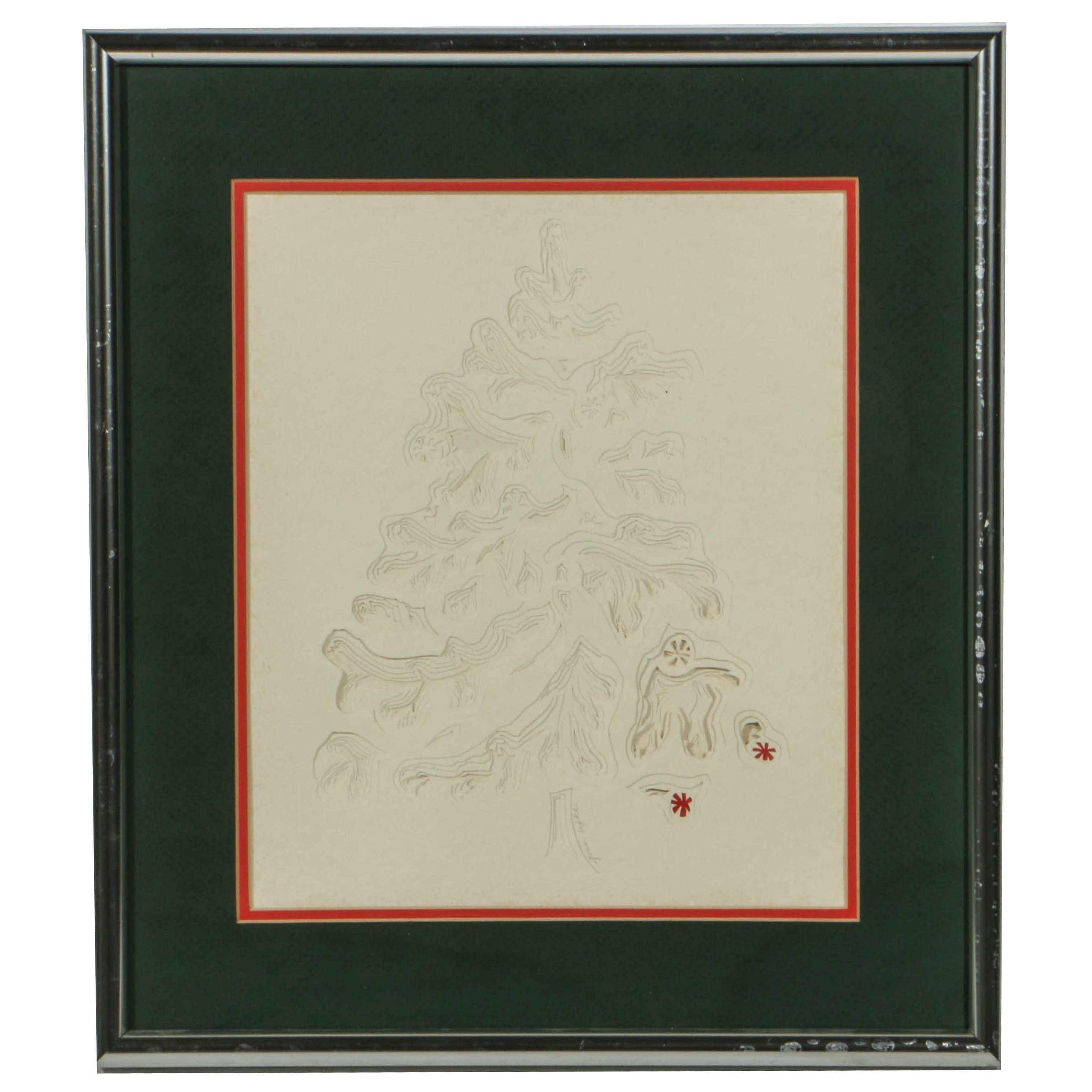Joan Lefke Kirigami Paper Cut of a Christmas Tree