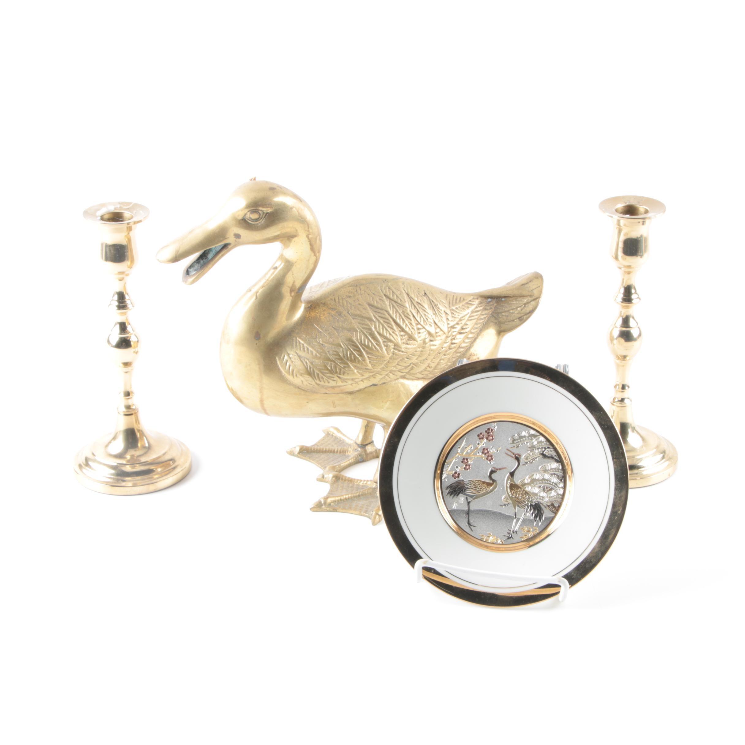 Chokin Plate and Brass Decorative Pieces