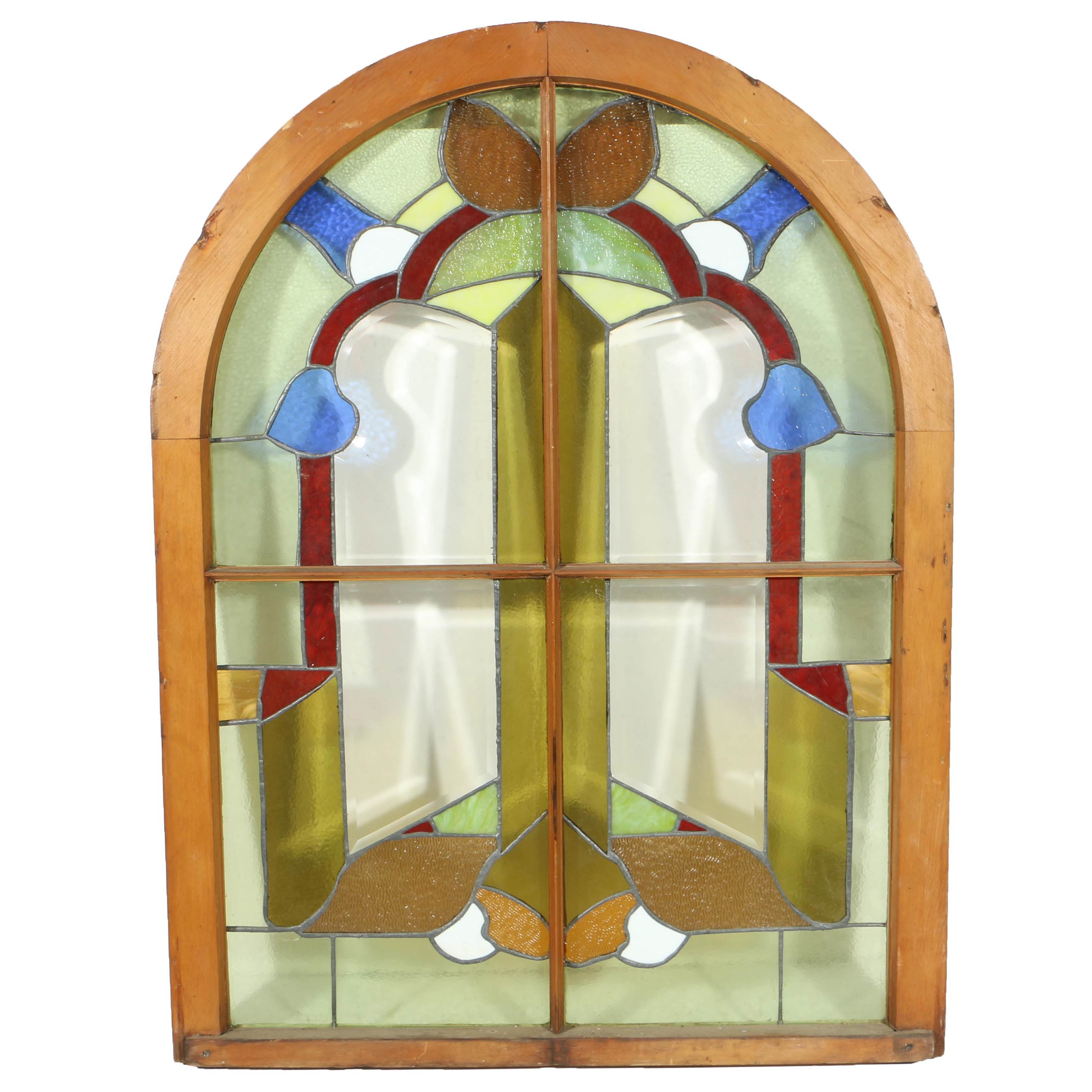 Vintage Arched Stained Glass Window