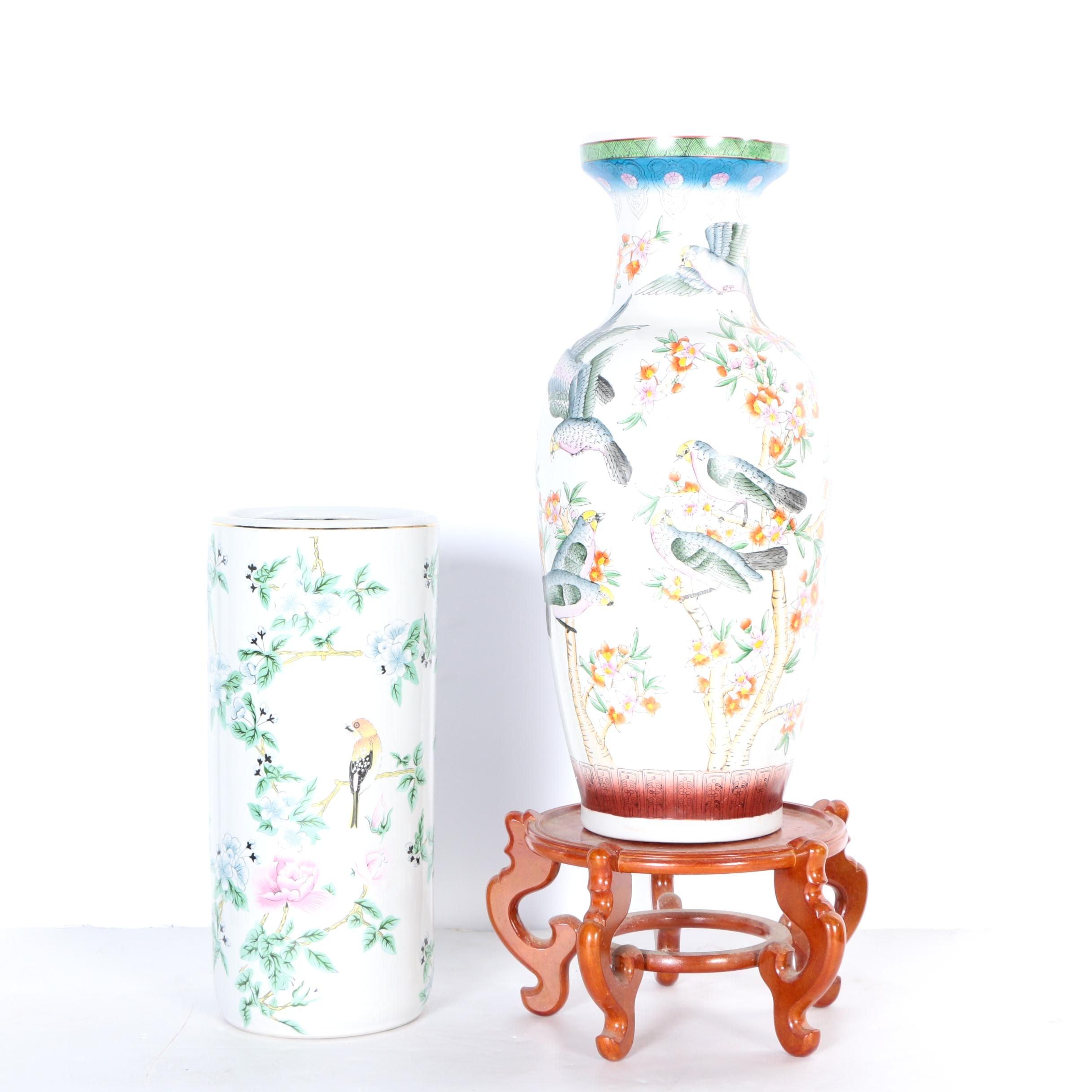 Chinese Inspired Porcelain Vase and Umbrella Stand