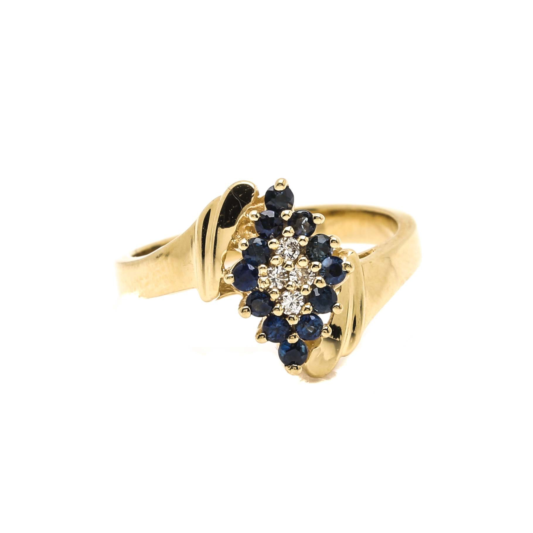 Ostby & Barton 14K Yellow Gold Diamond and Sapphire Ring