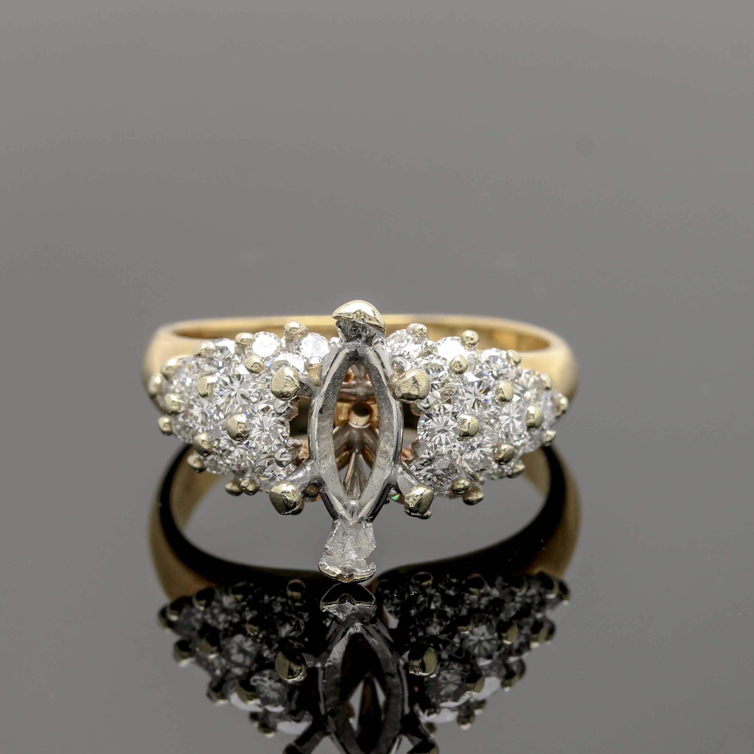 18K Yellow Gold and Platinum Diamond Semi Mount Ring