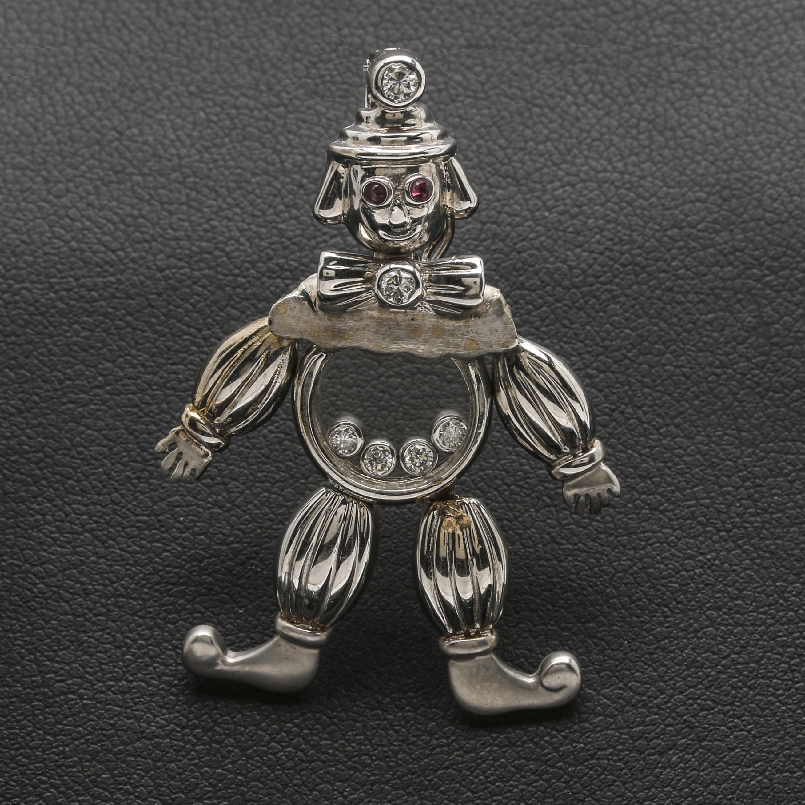 18K White Gold Floating Diamond and Ruby Clown Pendant