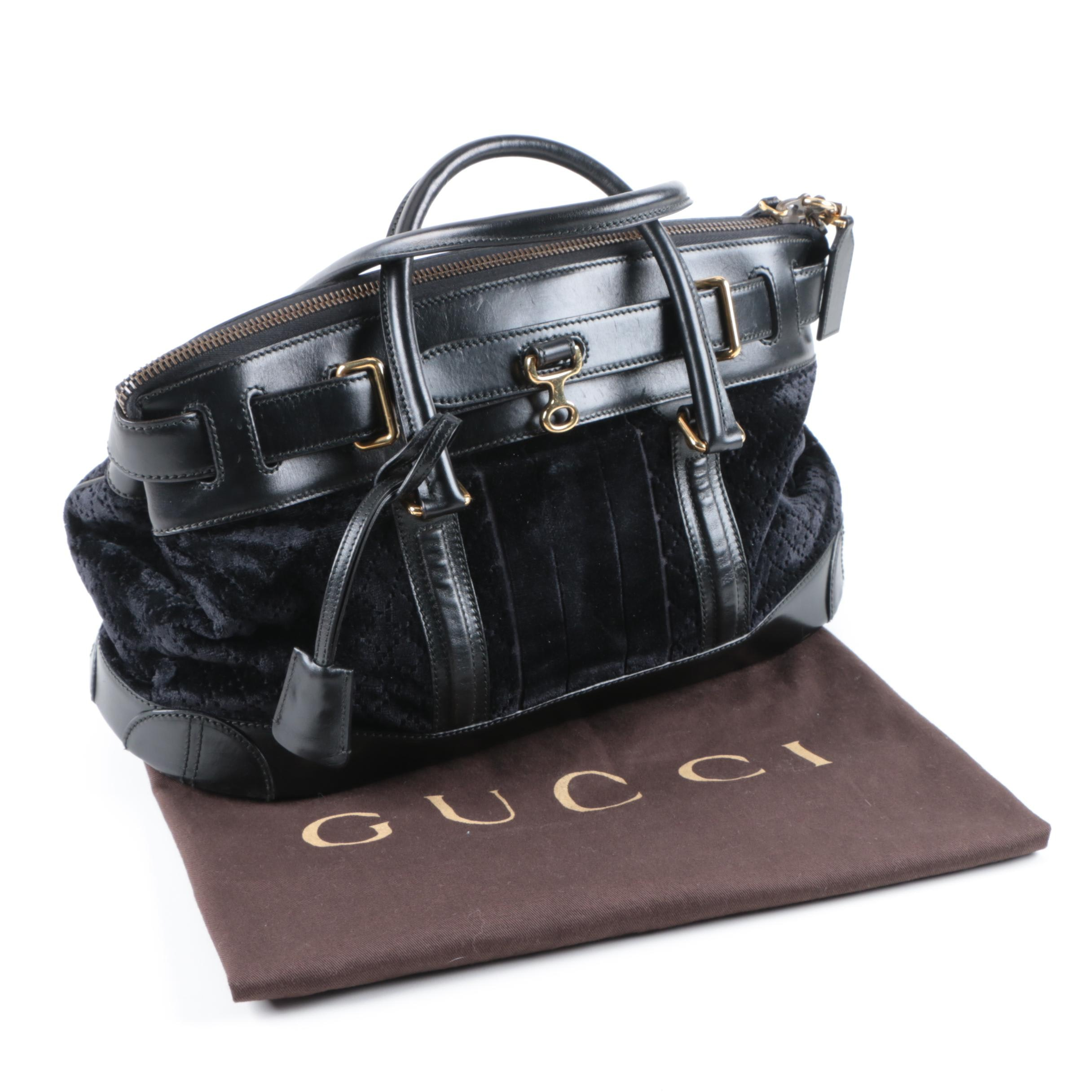 Gucci Secret Leather and Velveteen Top Handle Satchel