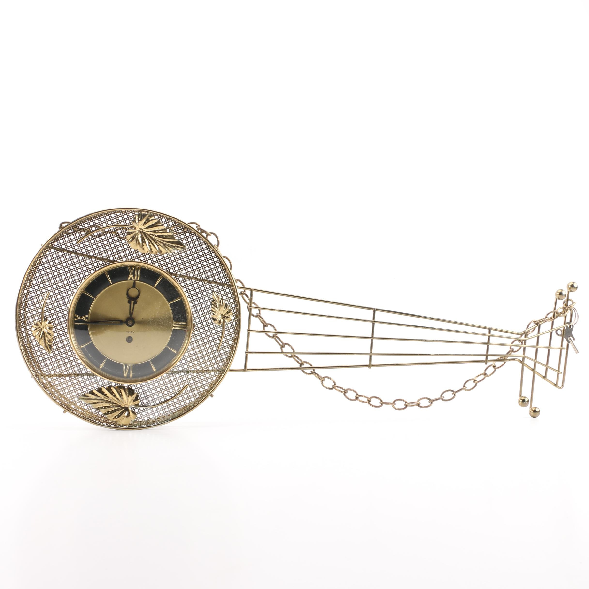 Mid Century Brass Banjo Wall Clock