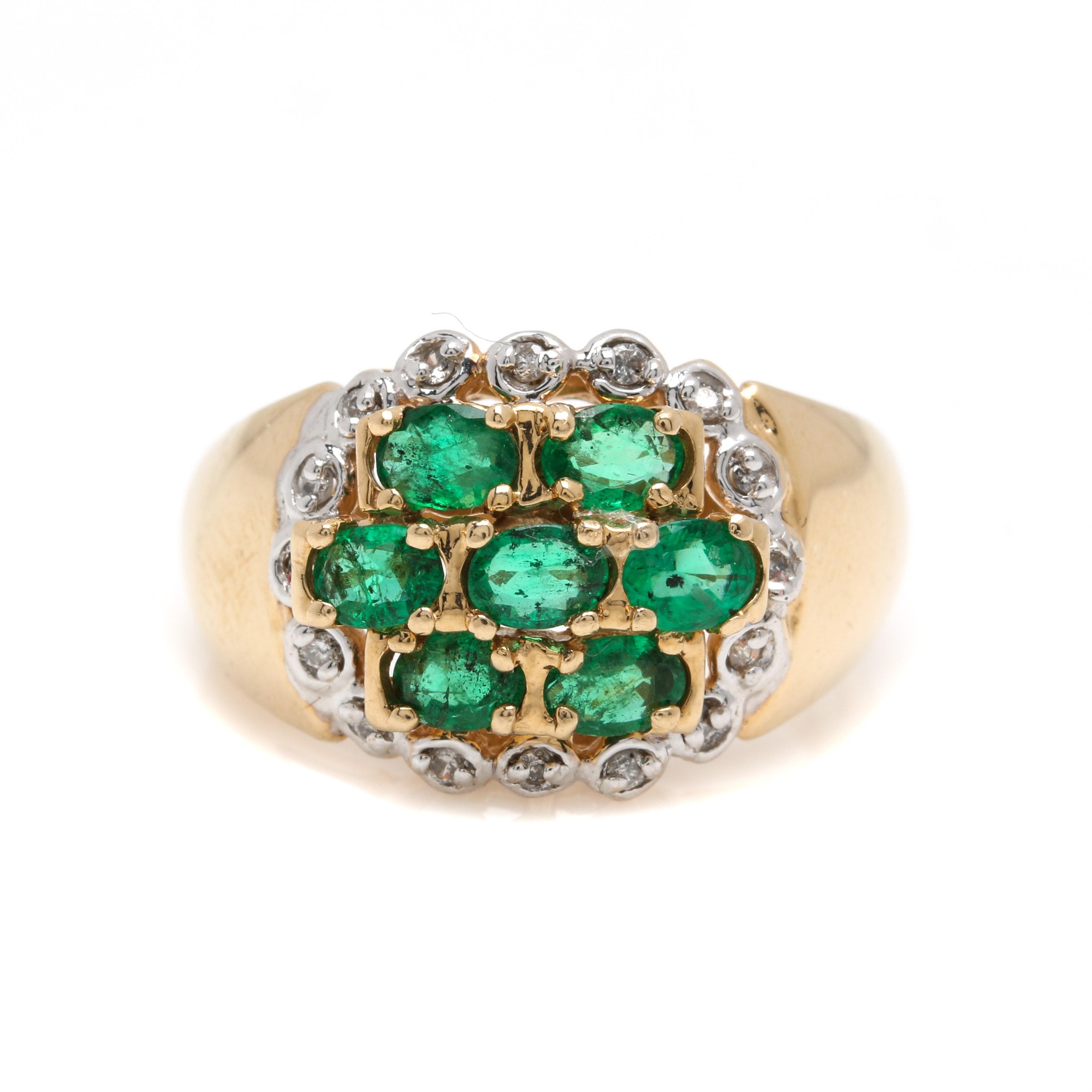 14K Yellow Gold Emerald and Diamond Ring