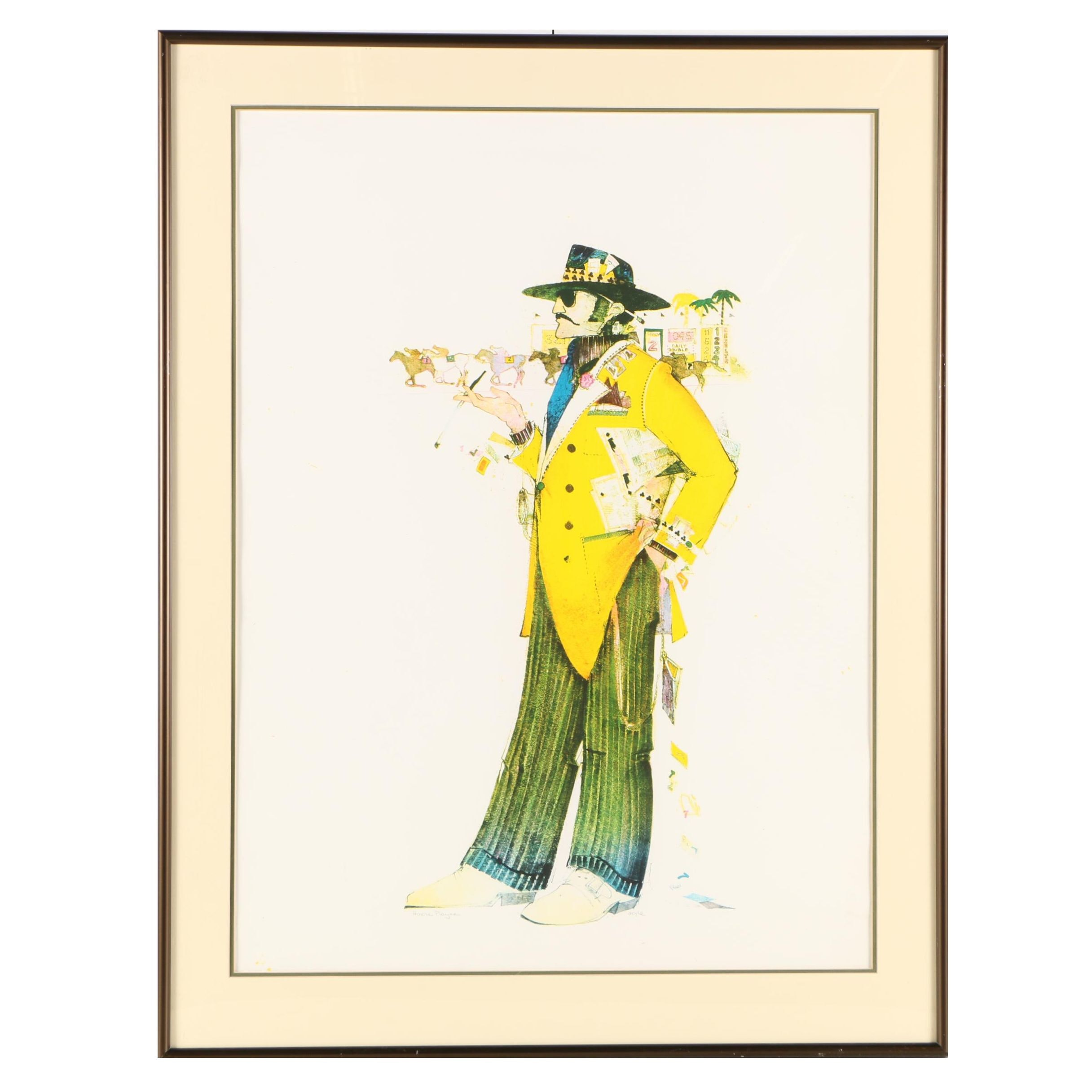 """John Doyle Color Lithograph """"Horse Player"""" from the """"Gamblers Series"""""""