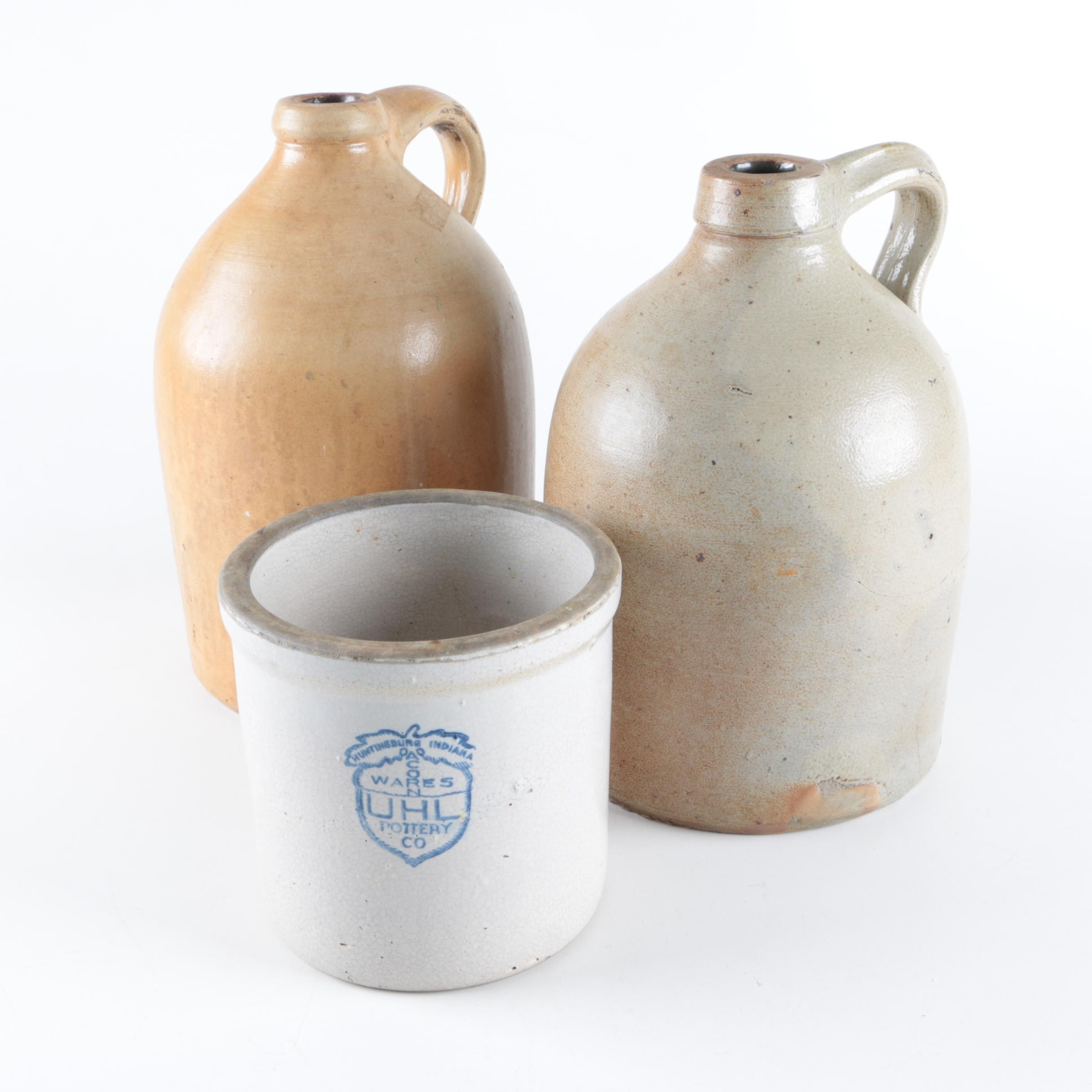 Stoneware Crock and Jugs including UHL