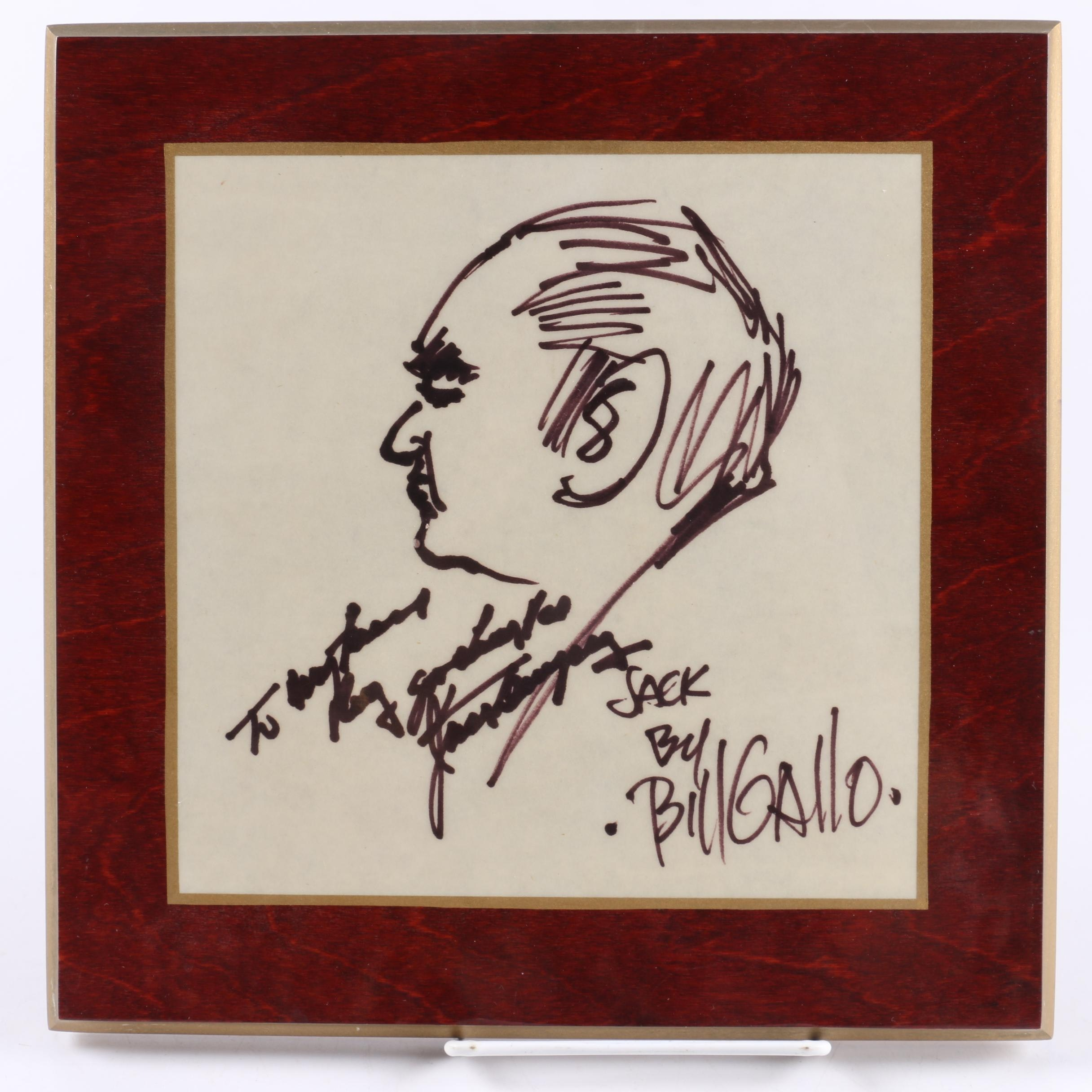 Jack Dempsey Autographed Drawing by Bill Gallo