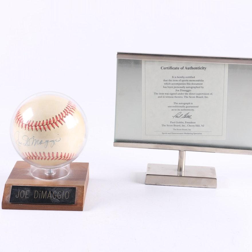 6b24bc2207b Joe DiMaggio Autographed Baseball   EBTH