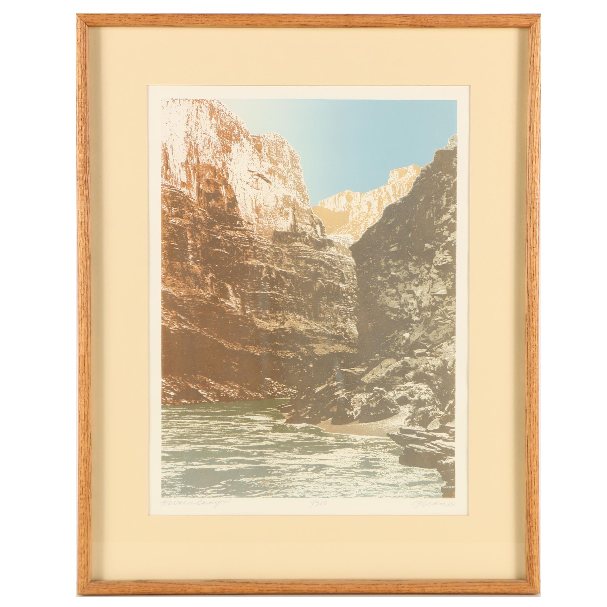 "P. Crane Limited Edition Embossed Serigraph ""Havasu Canyon"""