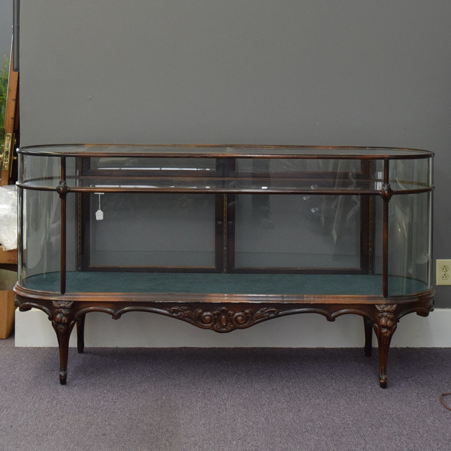 Antique Wood and Glass Display Cabinet ... - Antique Wood And Glass Display Cabinet : EBTH