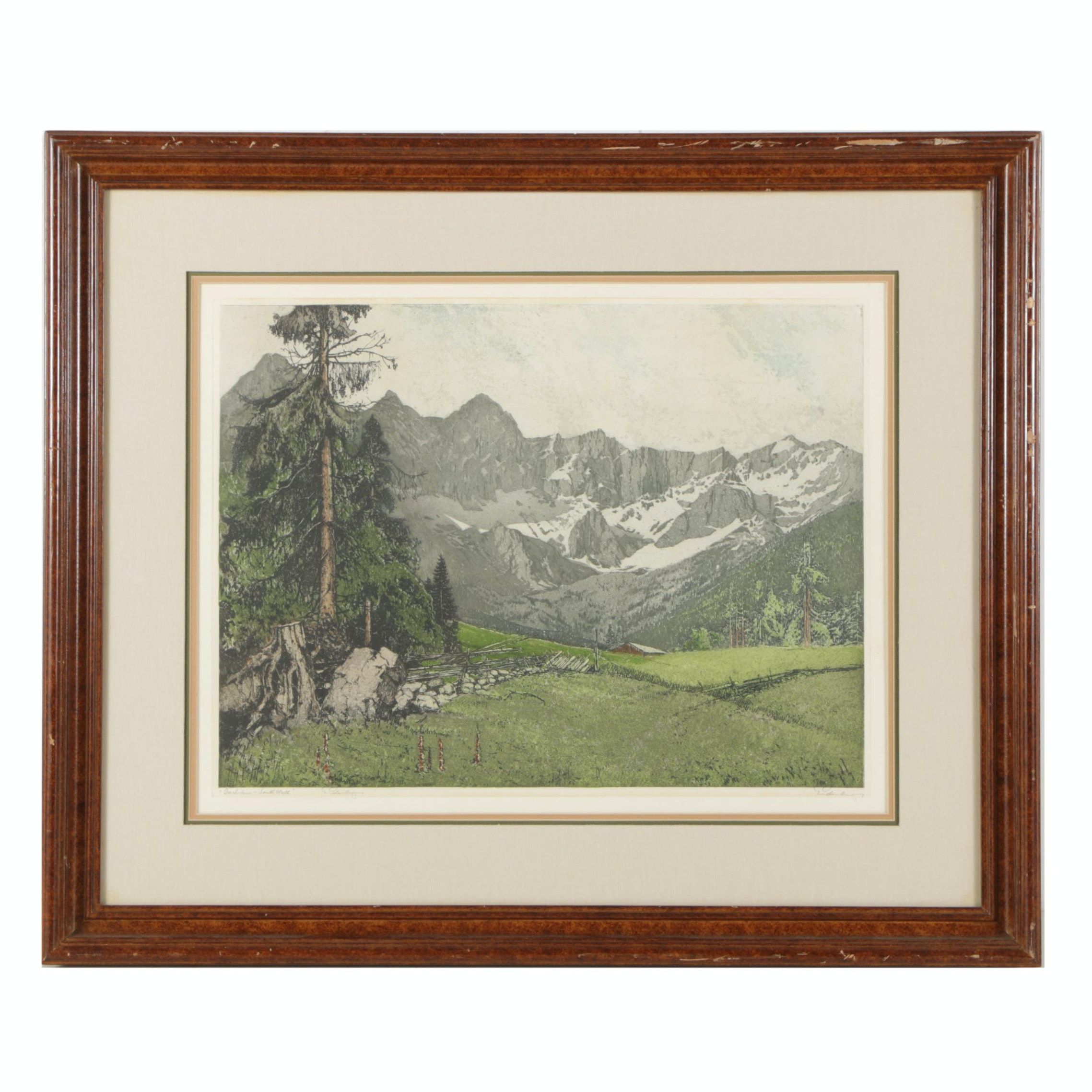 "Josef Eidenberger Mid Century Etching with Aquatint ""Dachstein - South Wall"""