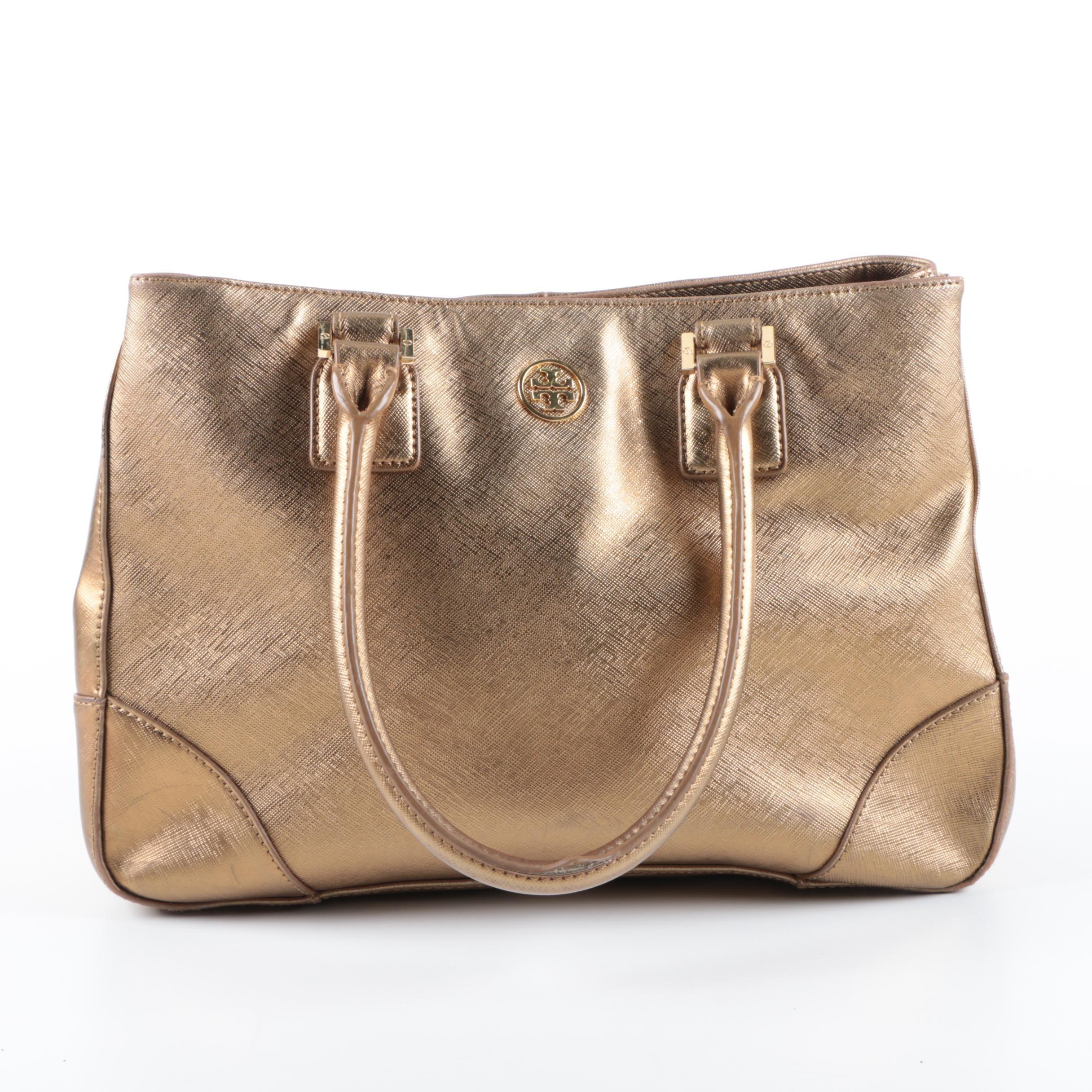 Tory Burch Textured Gold Metallic Tote Bag