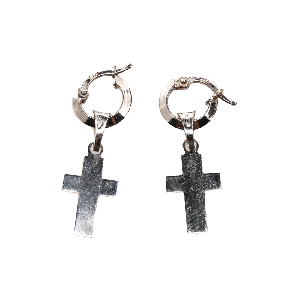 18K White Gold Cross Earrings