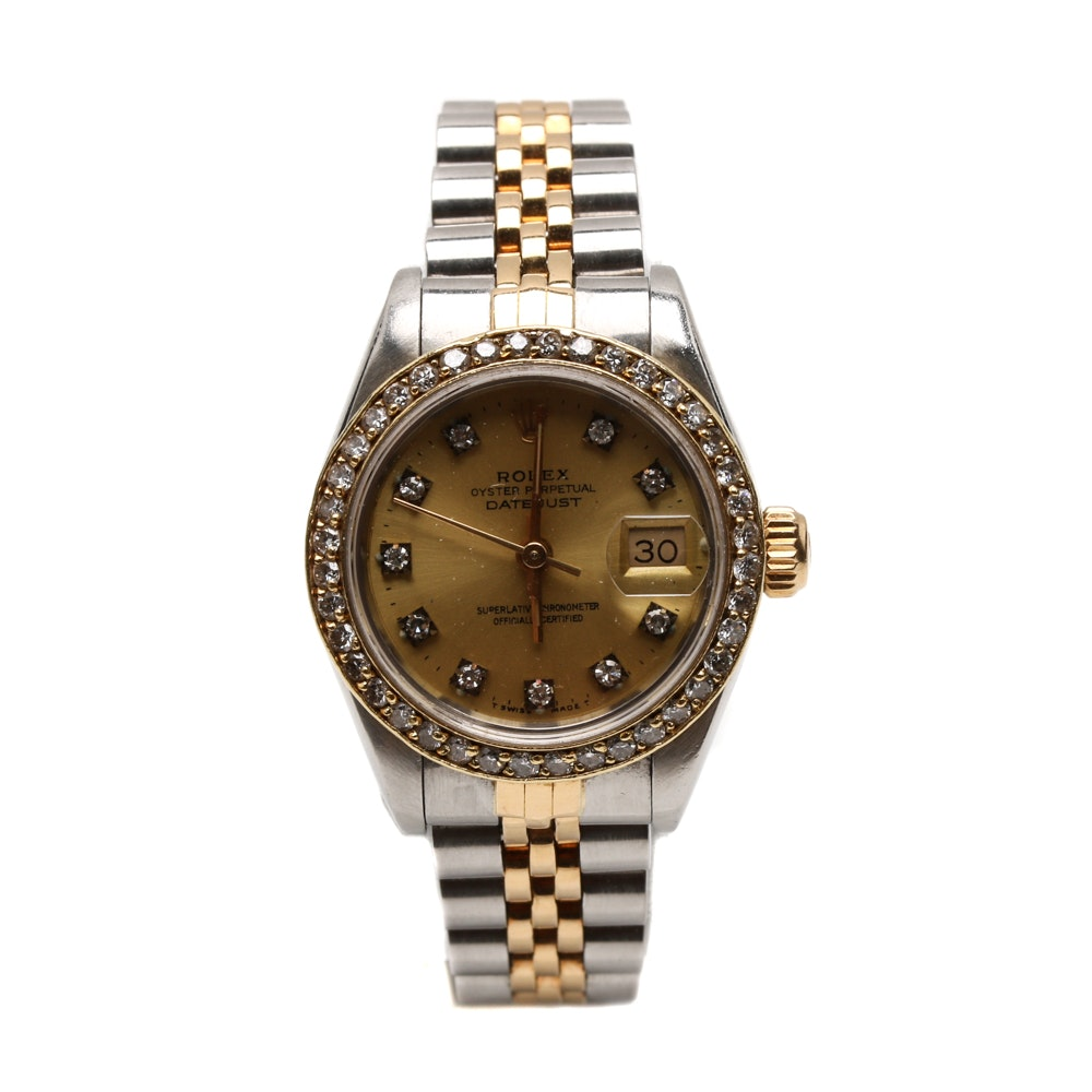 18K Yellow Gold and Stainless Steel Rolex with Diamond Accents