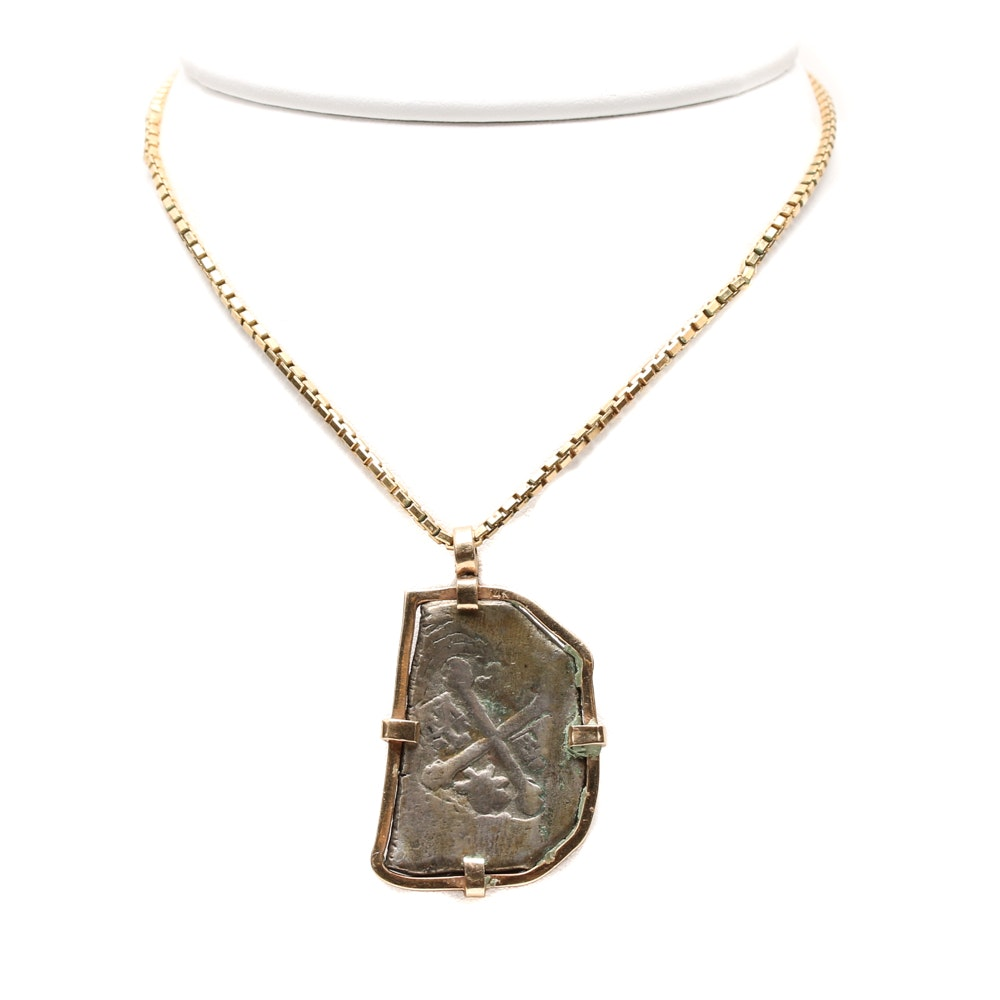 14K Yellow Gold Spanish 2 Reales Cob Coin Pendant Necklace