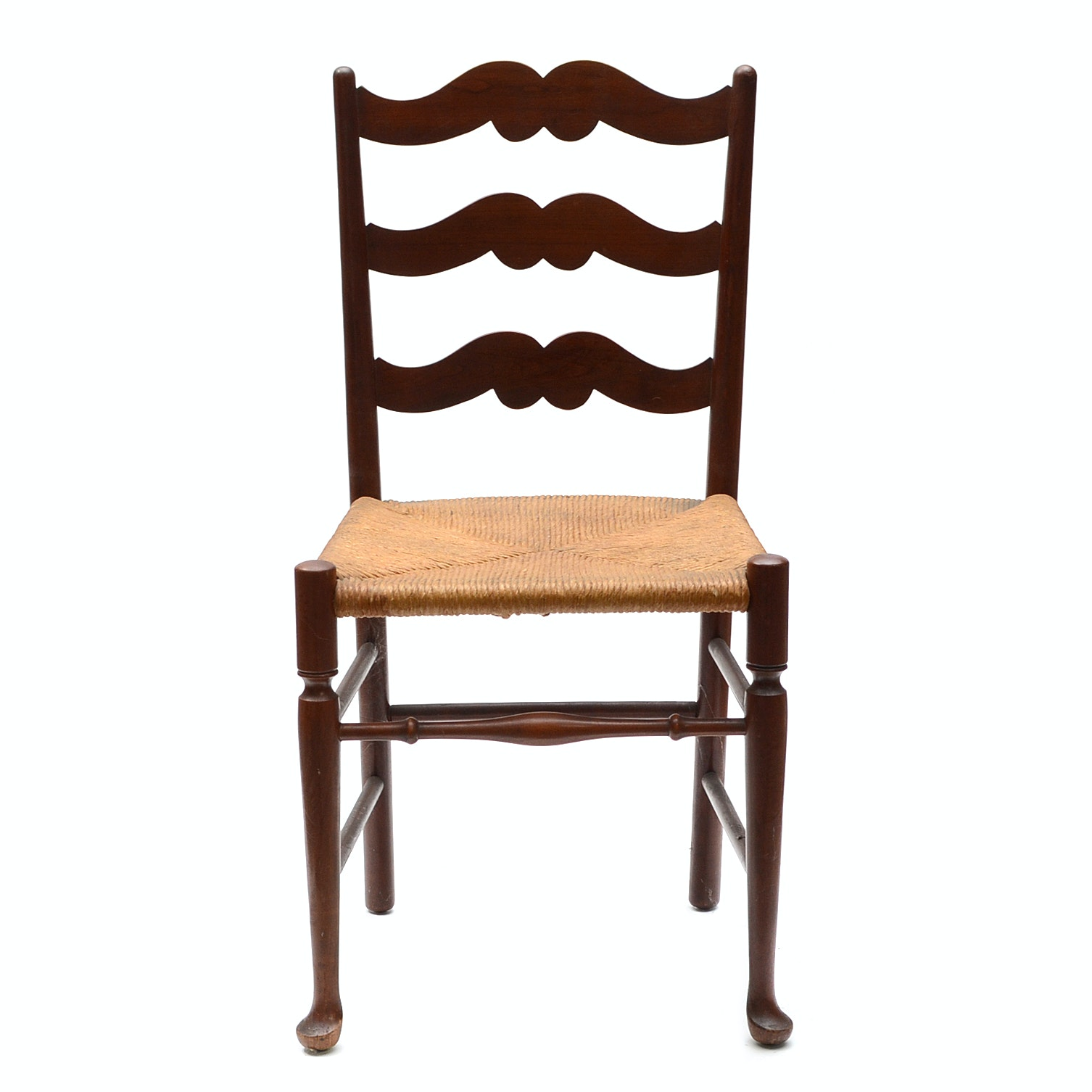 Walnut Ladder Back Side Chair with Woven Wicker Seat