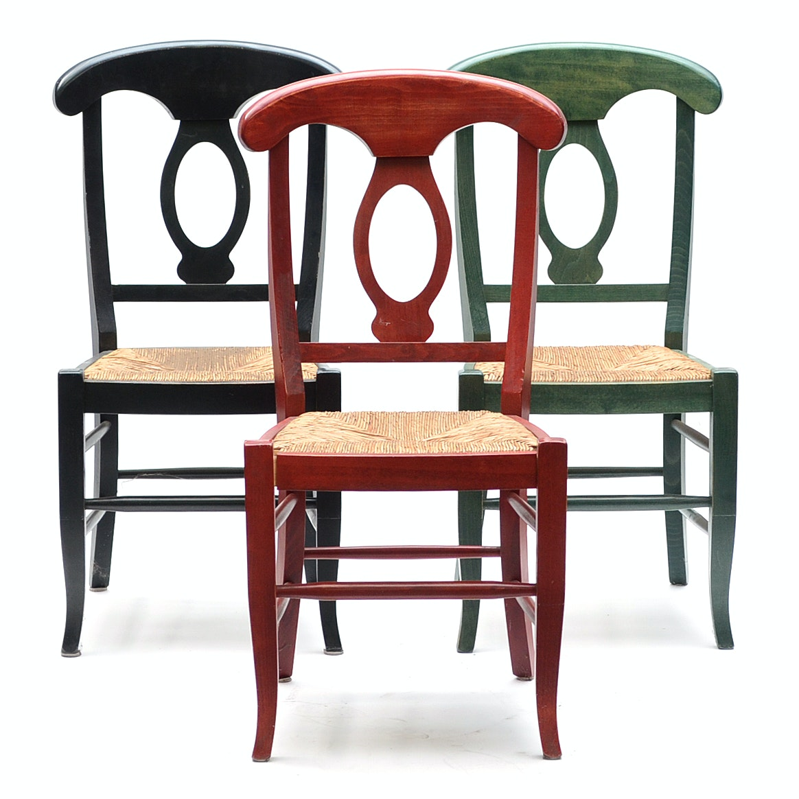 Three Pottery Barn Painted Wood Chairs with Wicker Seats