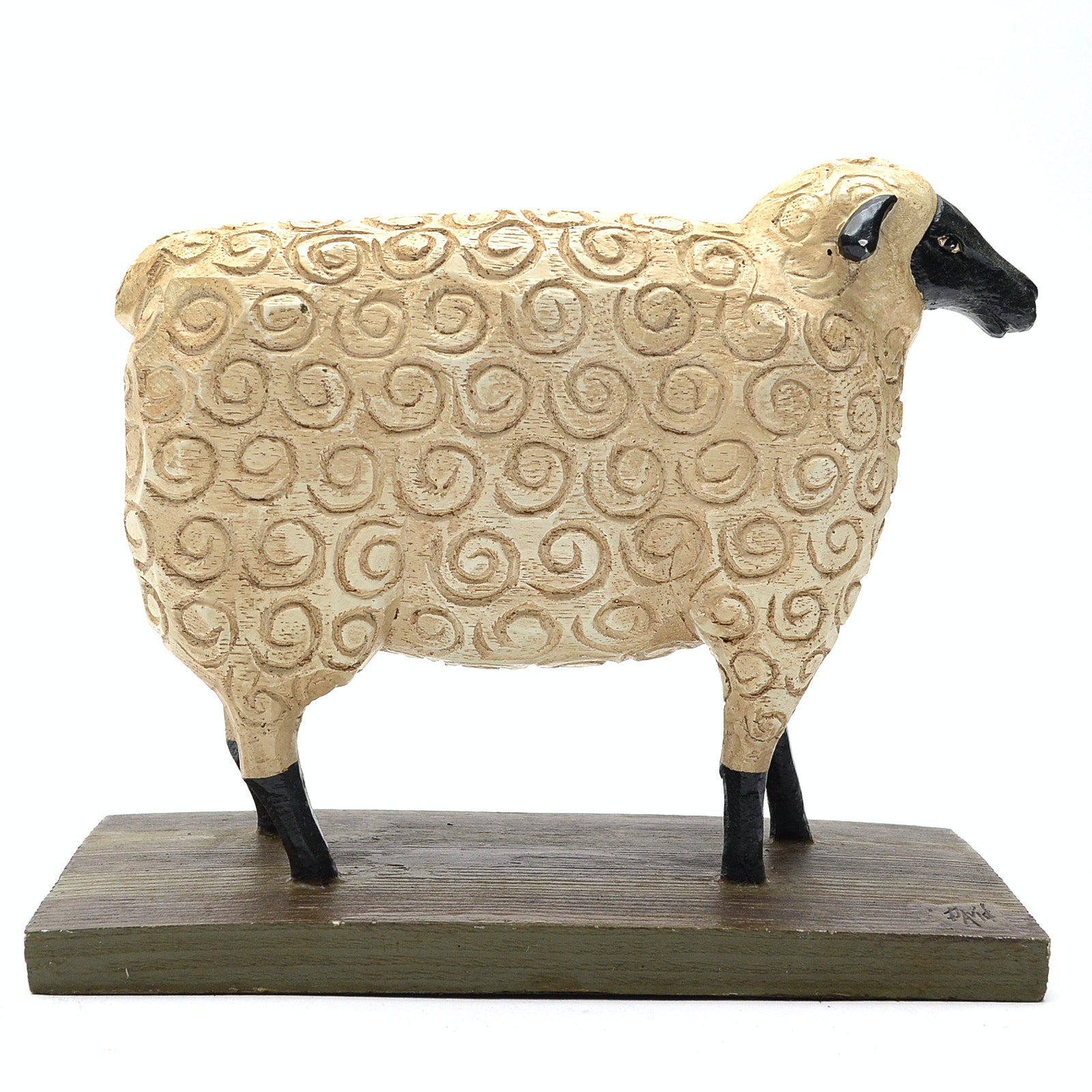 Carved Wood Sheep Sculpture