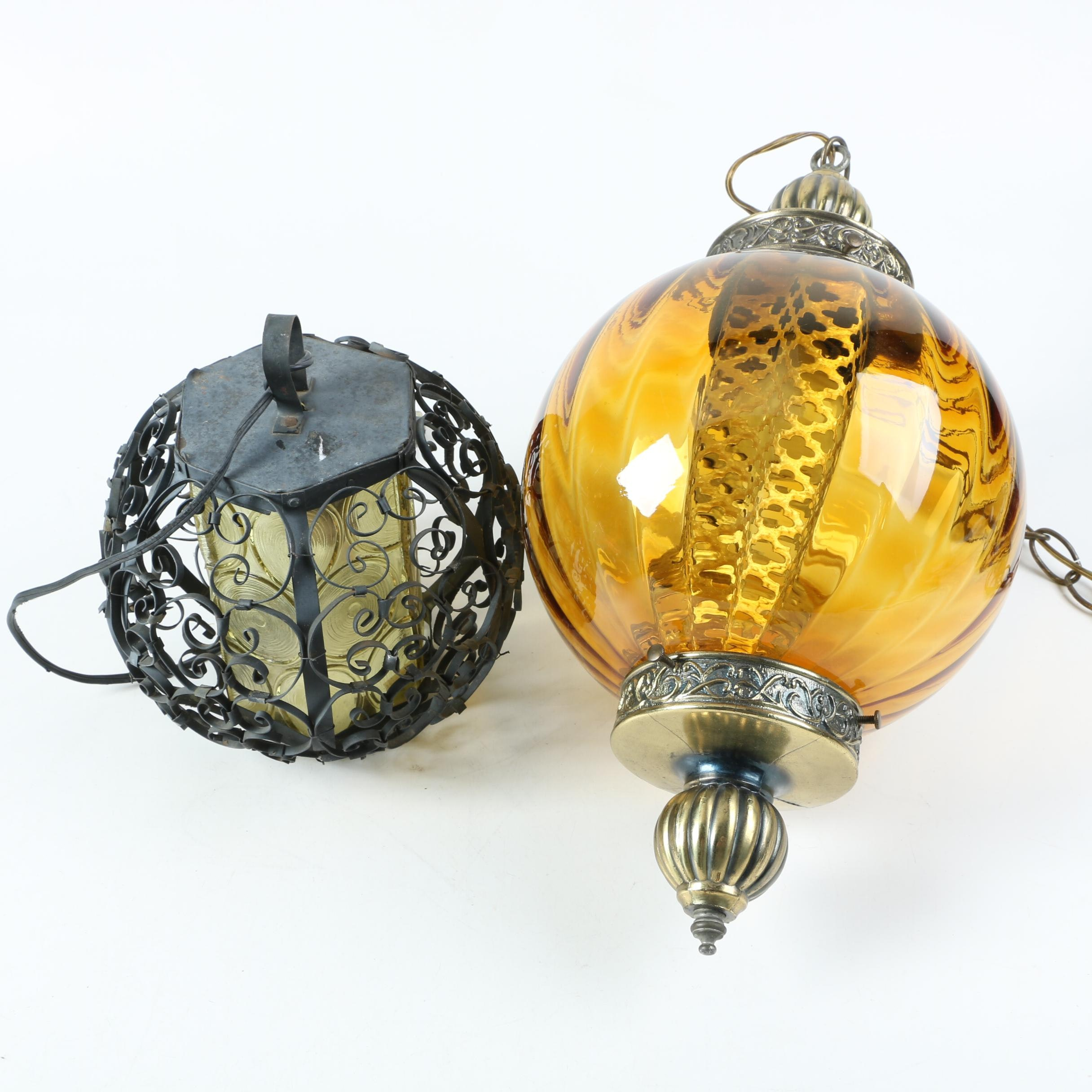 Moroccan Inspired and Wrought Iron Swag Lamps