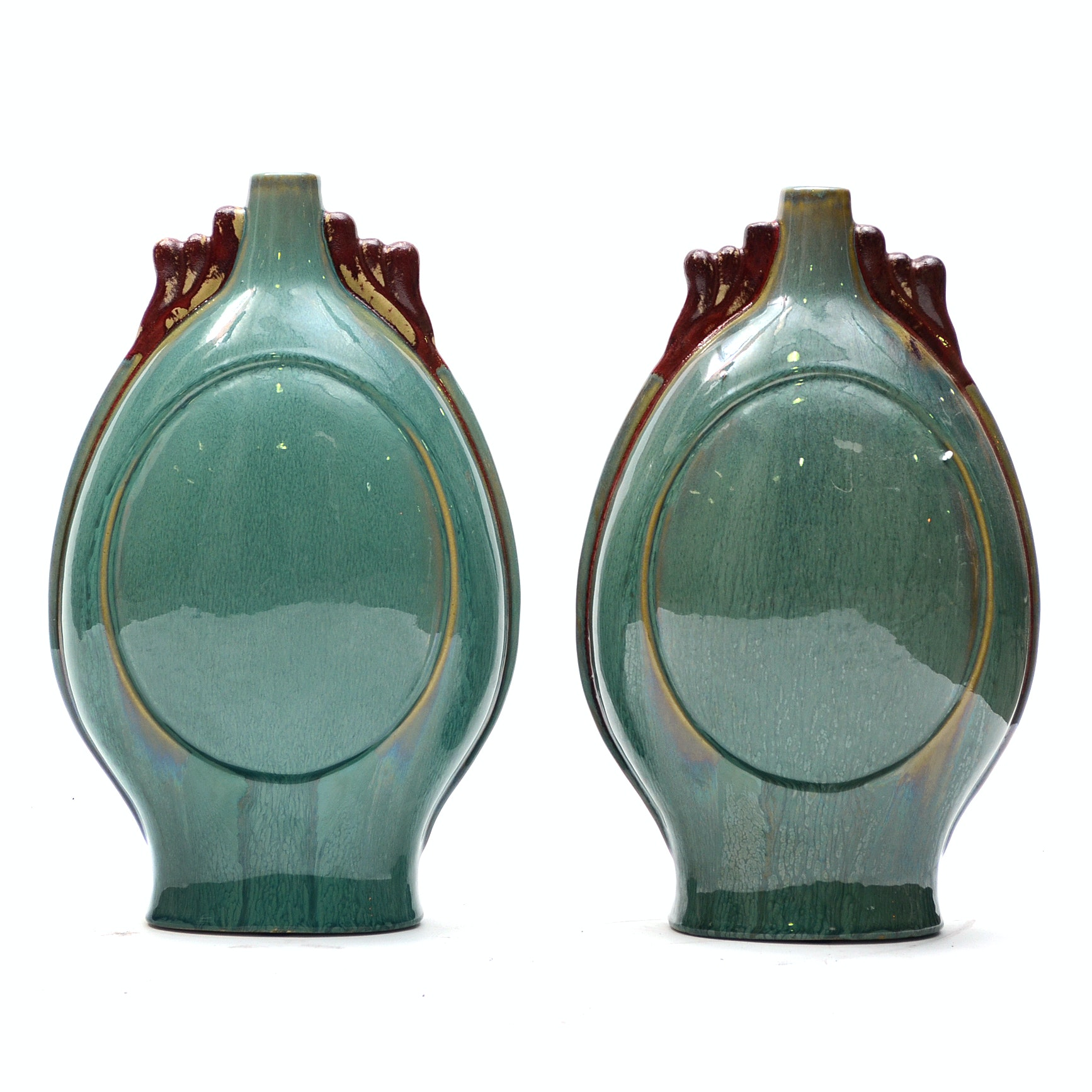 Pair of Chinese Heavy Glaze Ceramic Vases