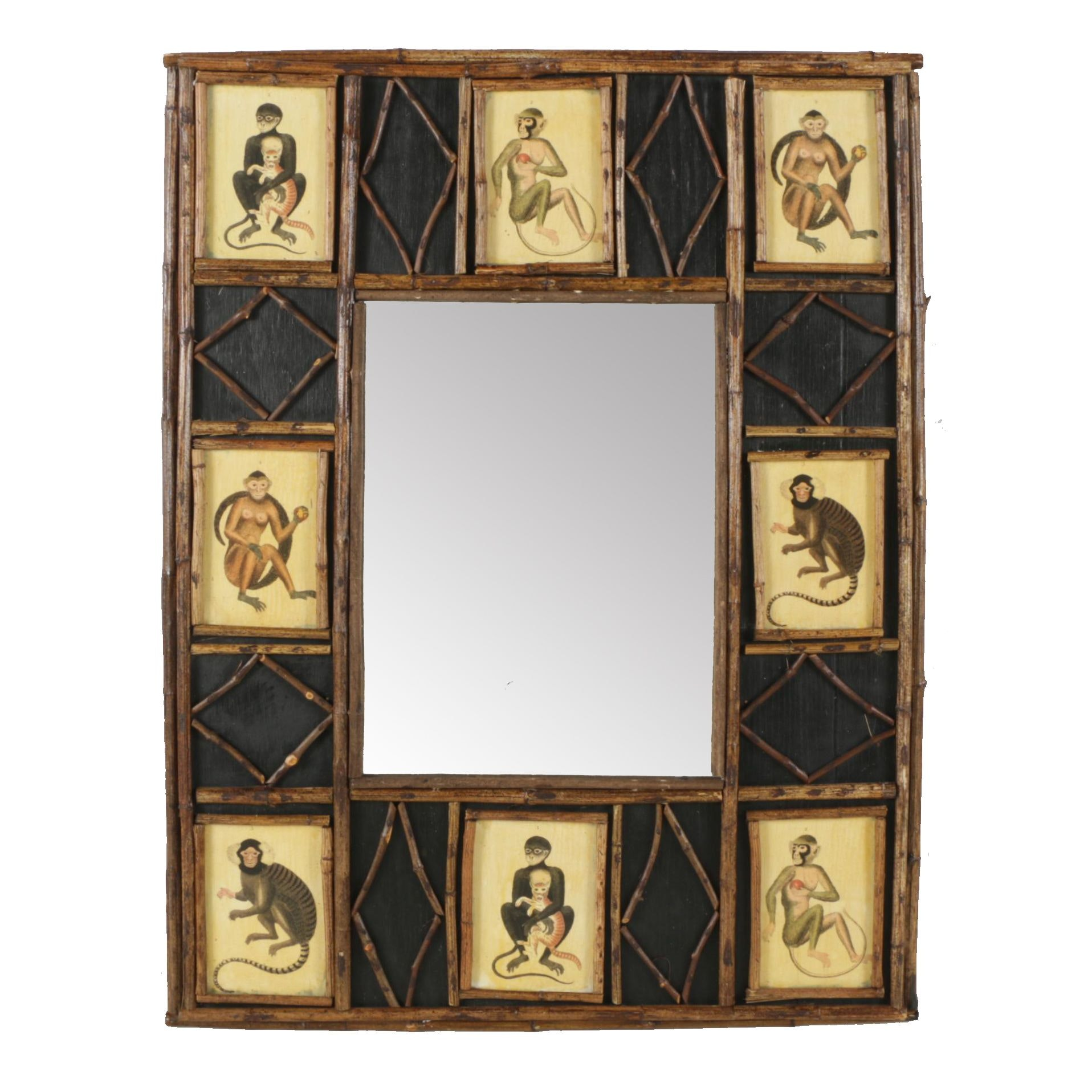 Wooden Framed Wall Mirror with Monkey Motif