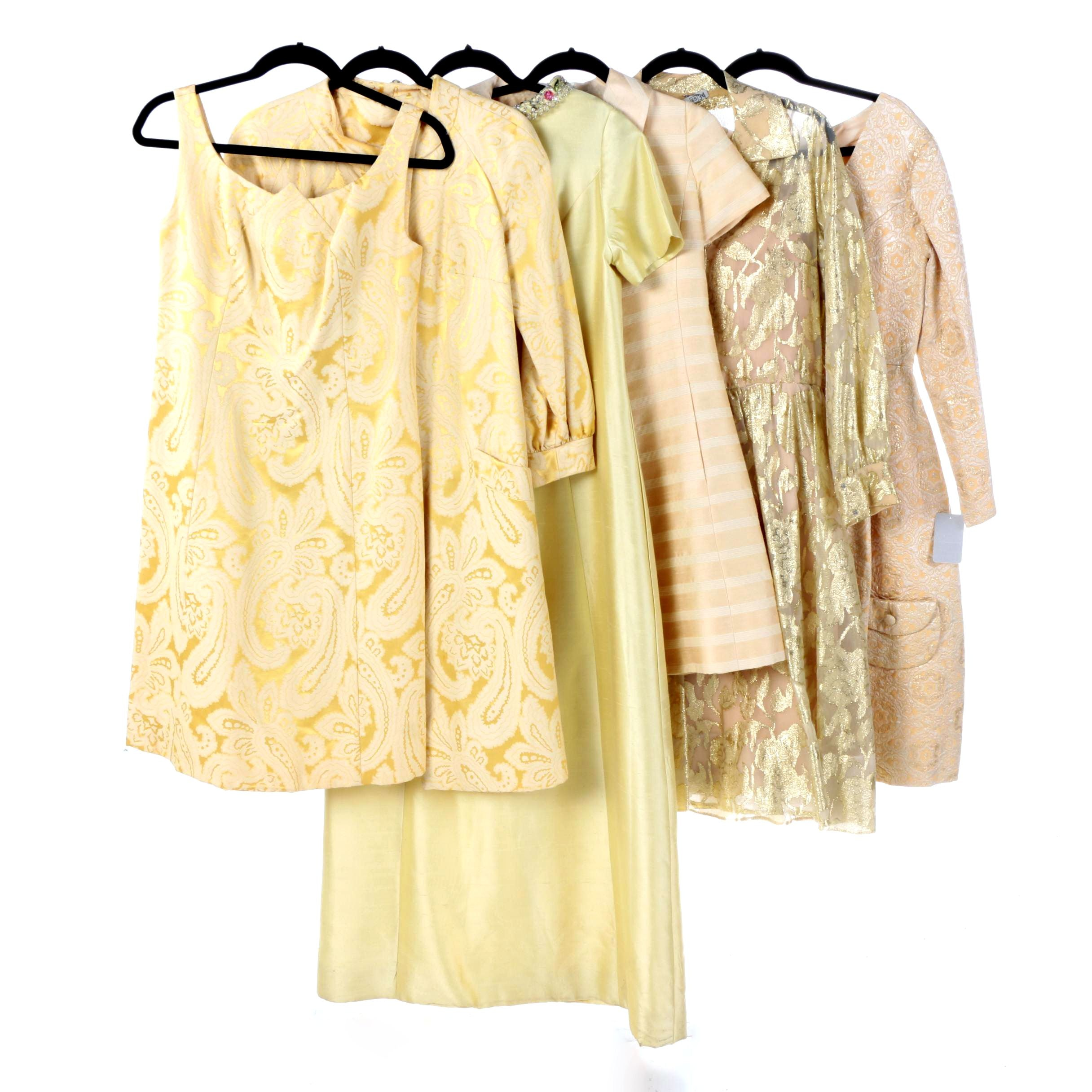 Mid Century Gold and Peach Evening Dresses and Coats