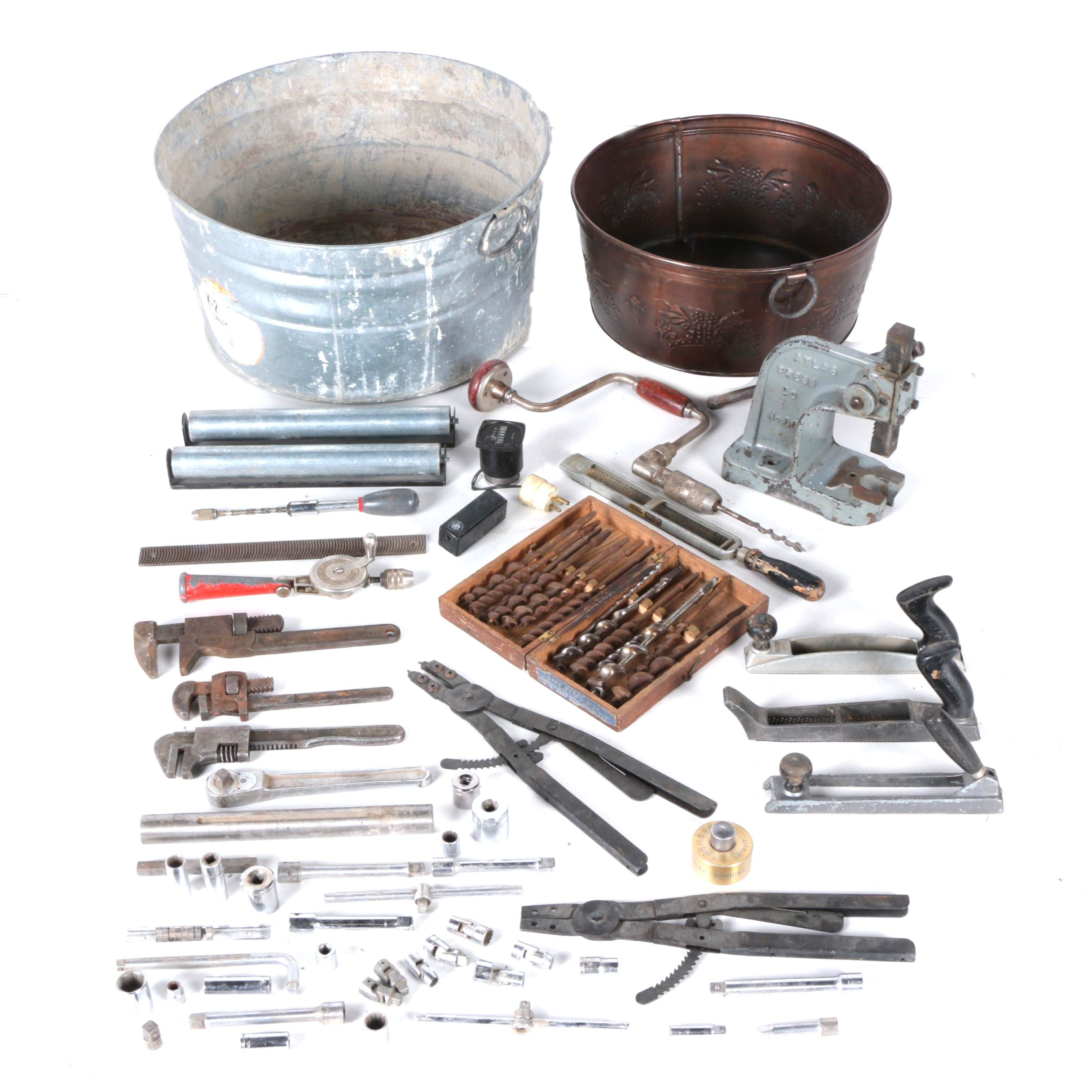 Pair of Metal Tubs and Tools Featuring Brace Drills and Squared Auger Bits