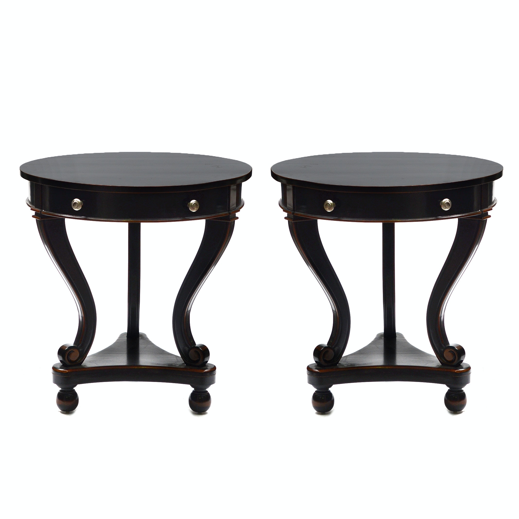 Pair of Regency Style Black Lacquered End Tables