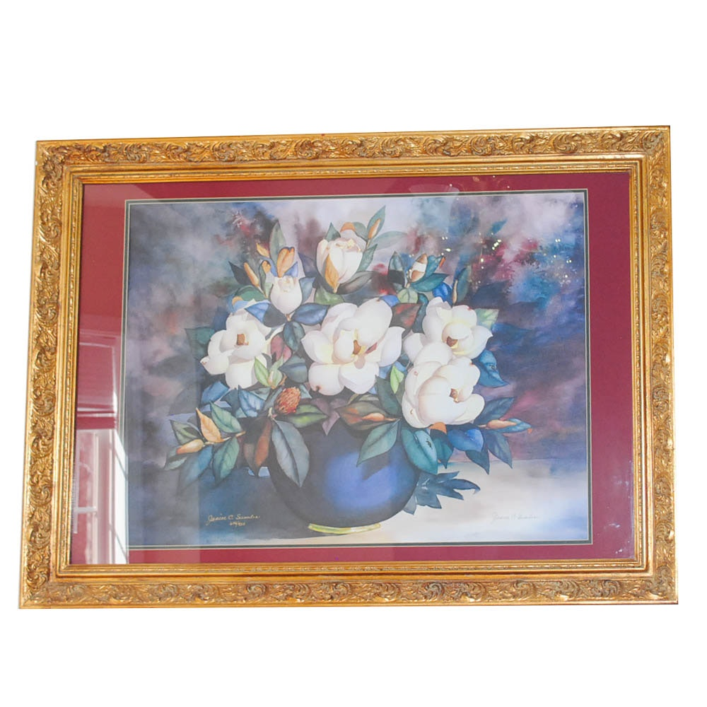 """Janice C. Sumler Limited Edition Offset Lithograph """"Magnolias"""""""