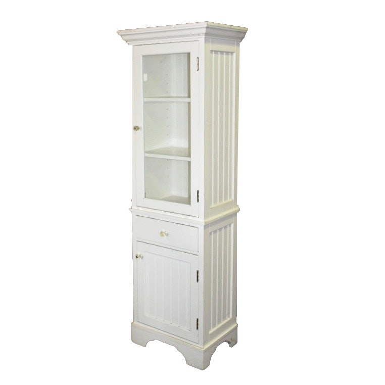 White Cabinet with Glass Front Door
