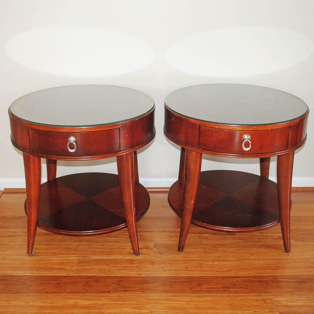 Contemporary Circular End Table Pair