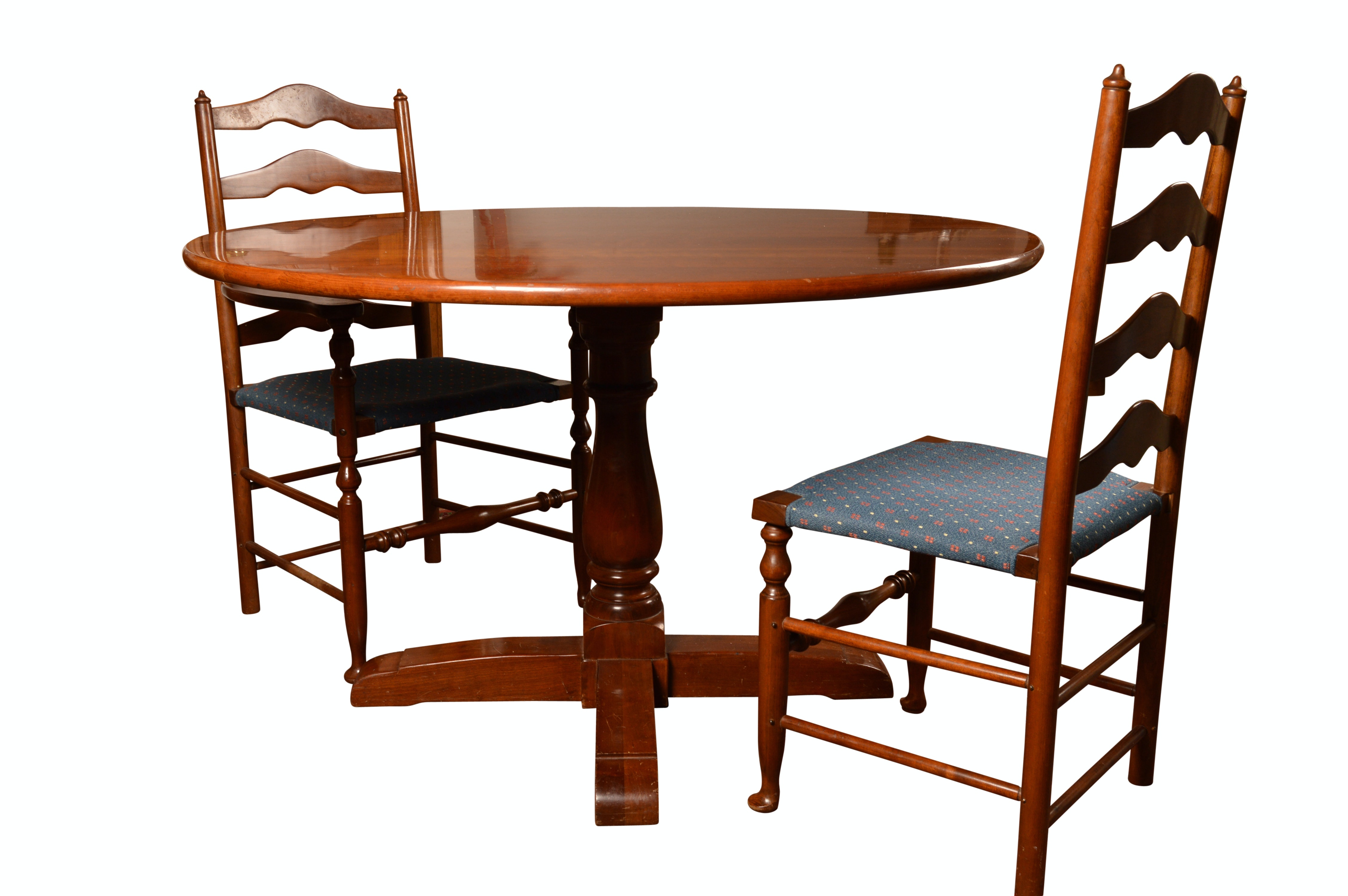 Stickley Cherry Colonial Style Table With Two Ladder Back Chairs ...