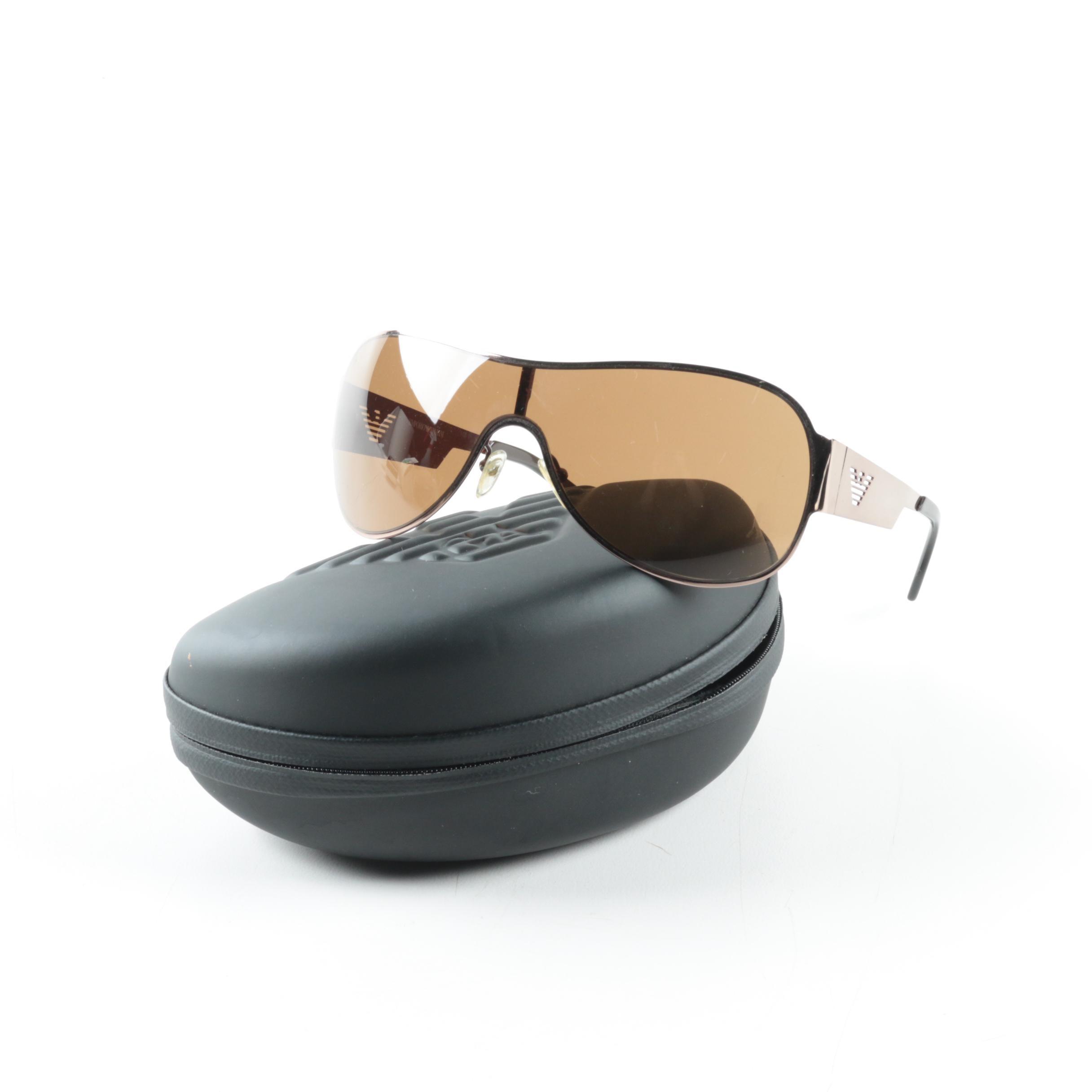 Emporio Armani Shield Sunglasses with Case