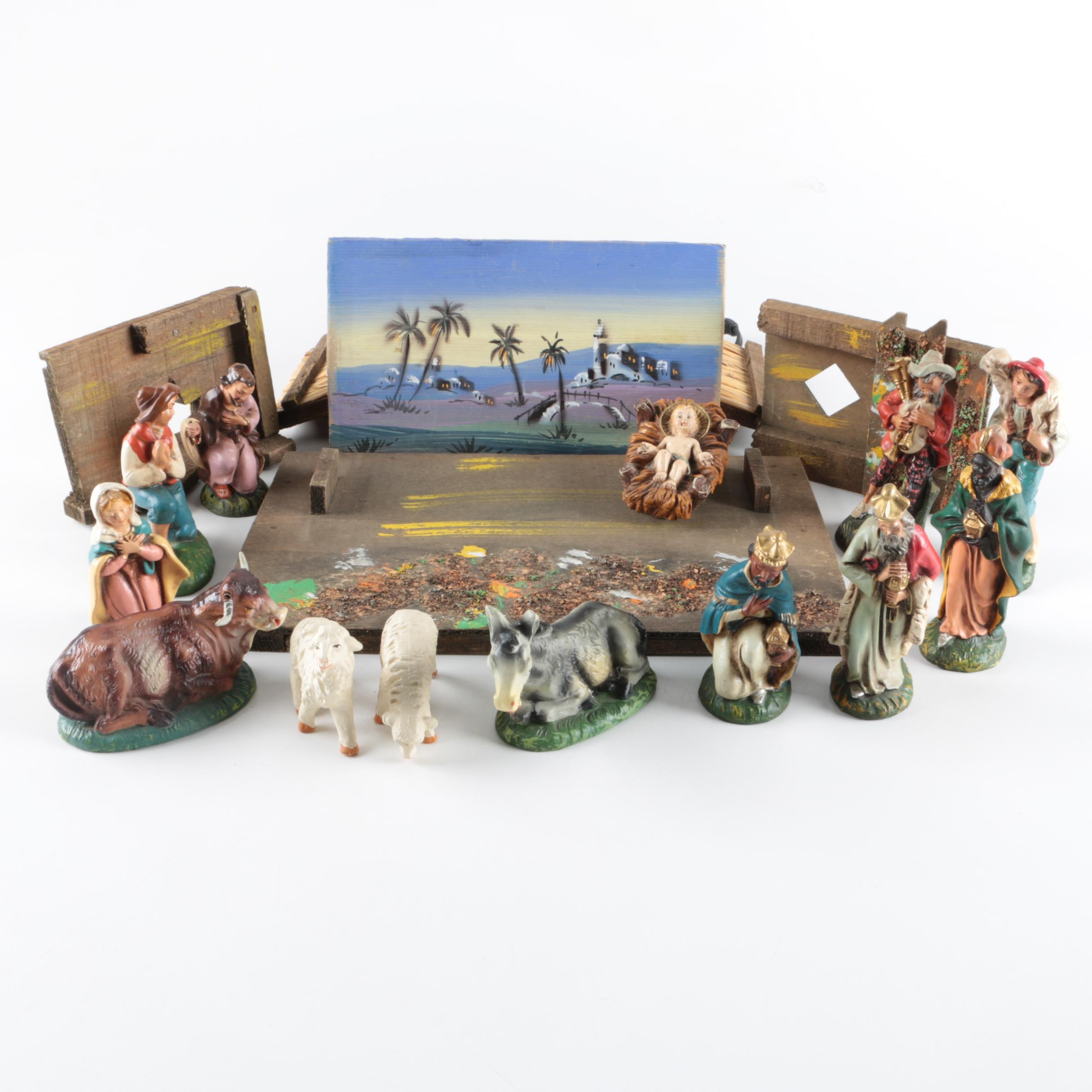 Illuminated Italian Nativity Scene