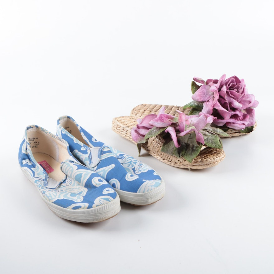 Lilly Pulitzer Keds Slip-On Shoes and Wicker Slides   EBTH 7cdd97d76
