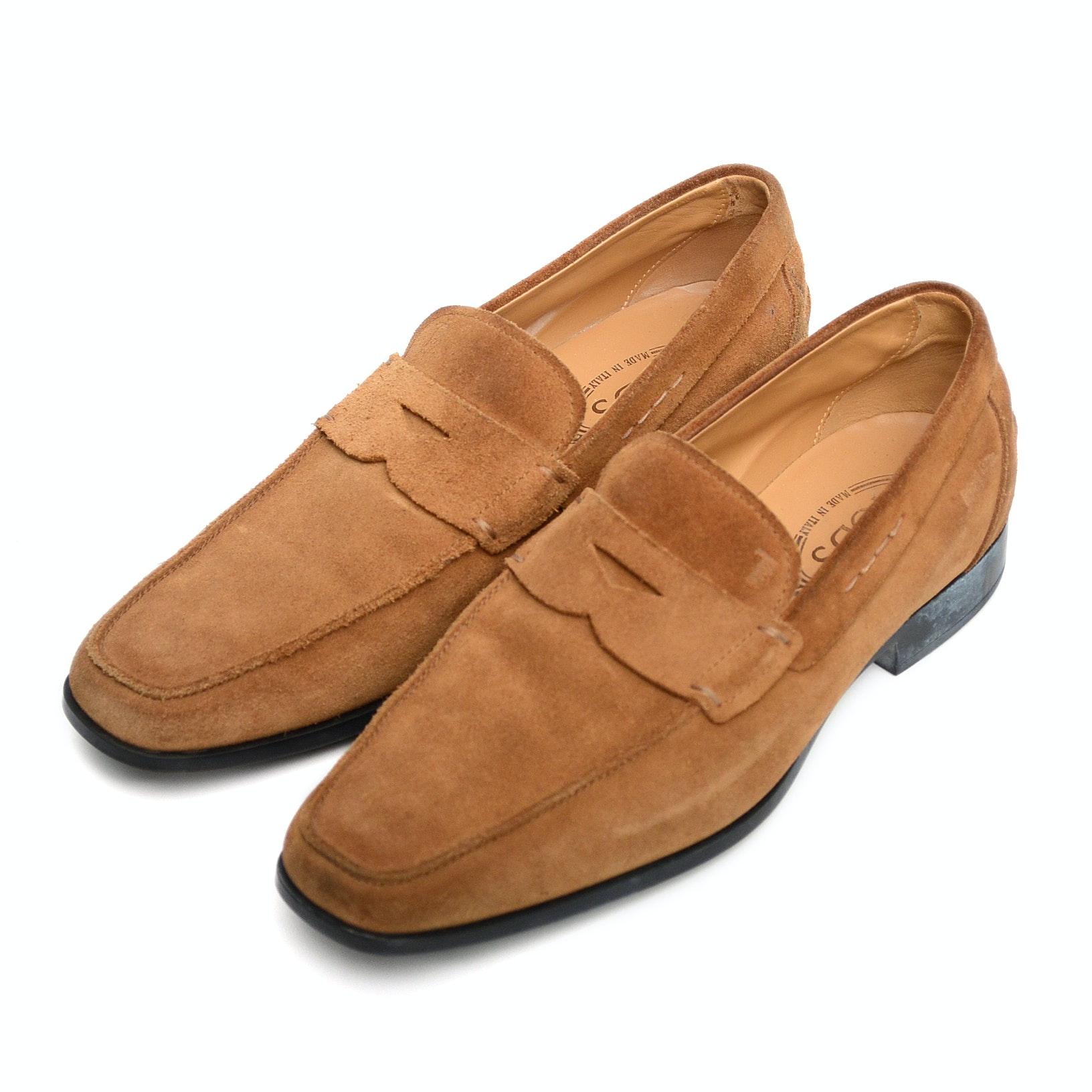 """Mens Designer """"Tod's"""" Caramel Suede Loafers"""