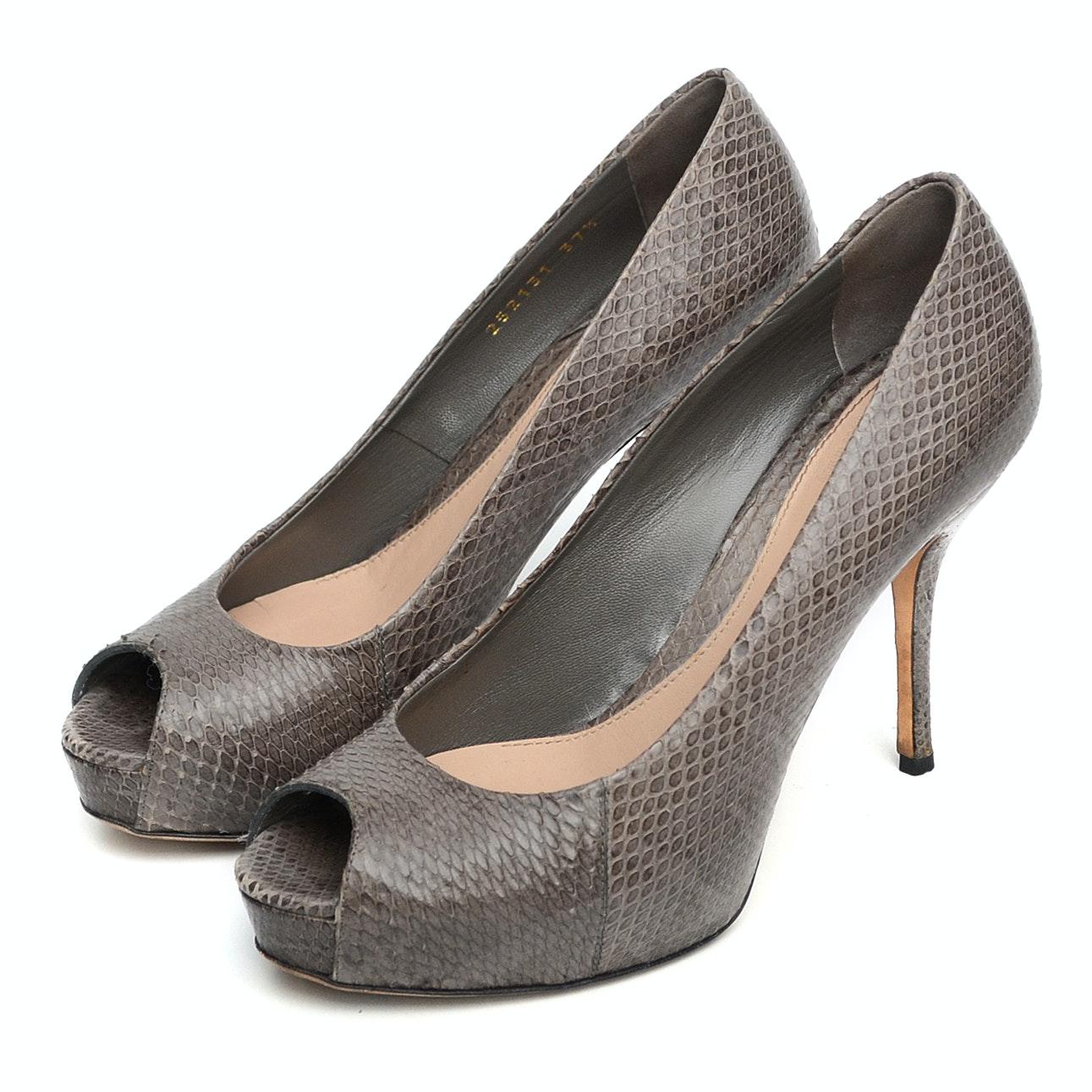 """Ladies """"Gucci"""" Peep Toe Platform Heels in Taupe Snakeskin"""