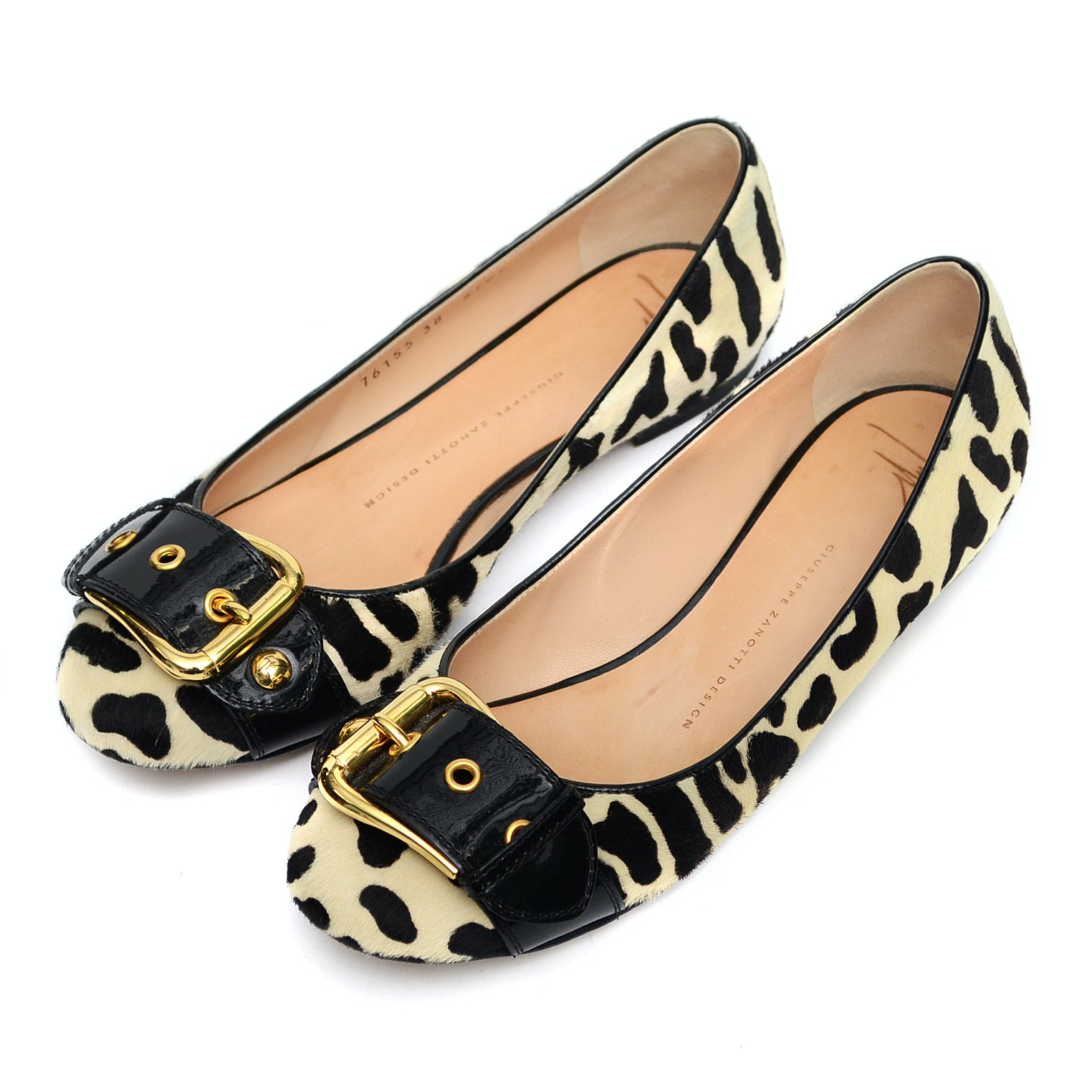 Ladies Guiseppe Zanotti Printed Pony Hair Flats with Black Patent Buckle