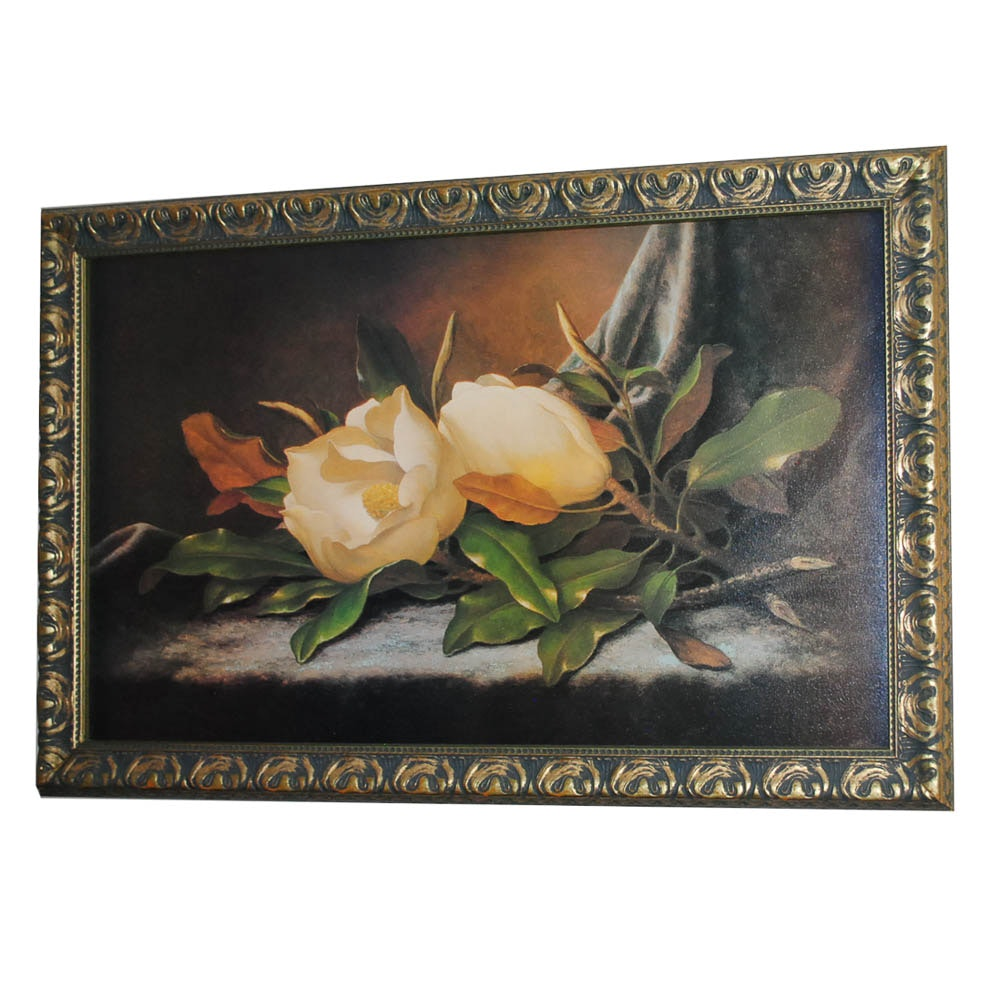 "Offset Lithograph After Martin Heade ""Giant Magnolias on a Blue Velvet Cloth"""
