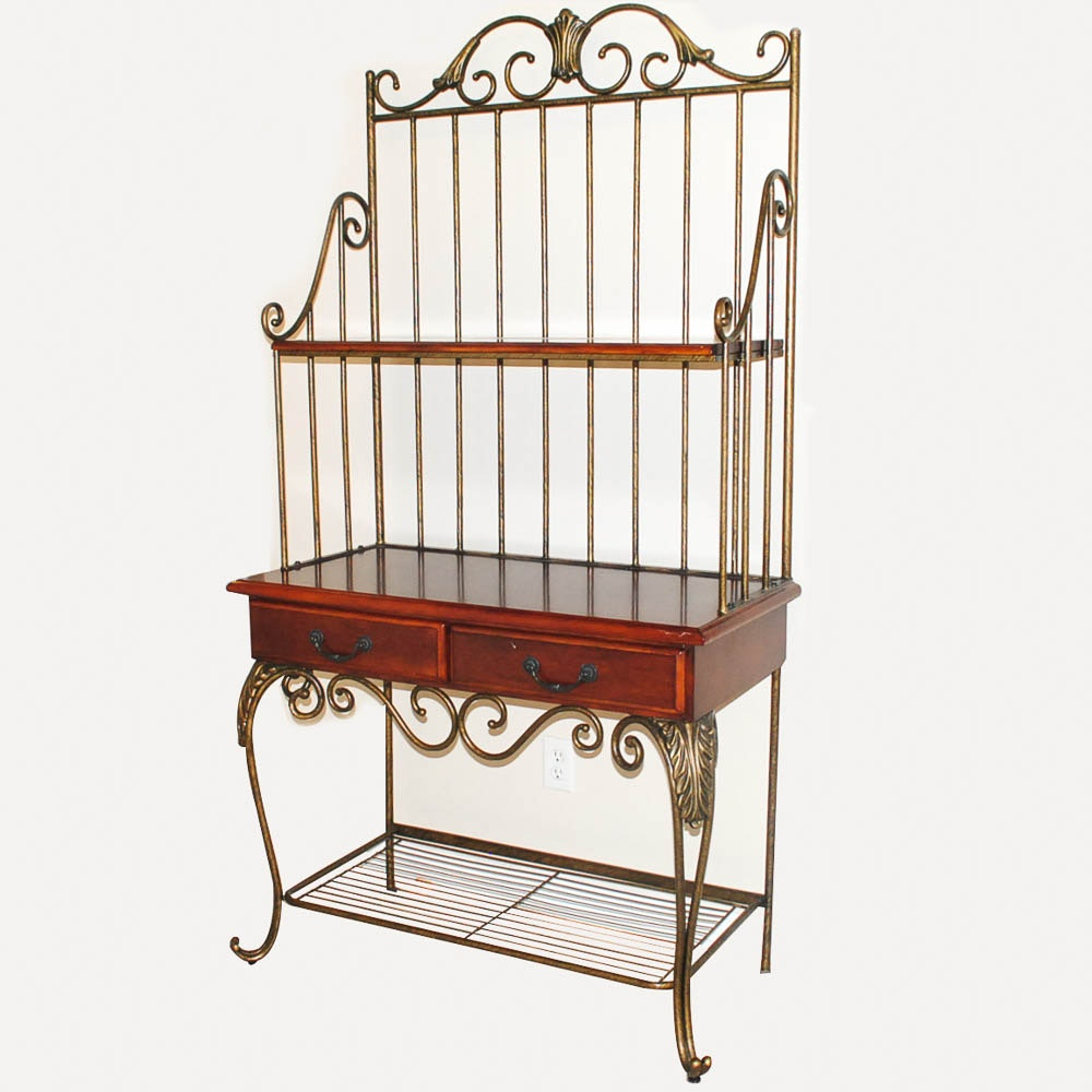 Wrought Metal and Fruitwood Stained Bakers Rack
