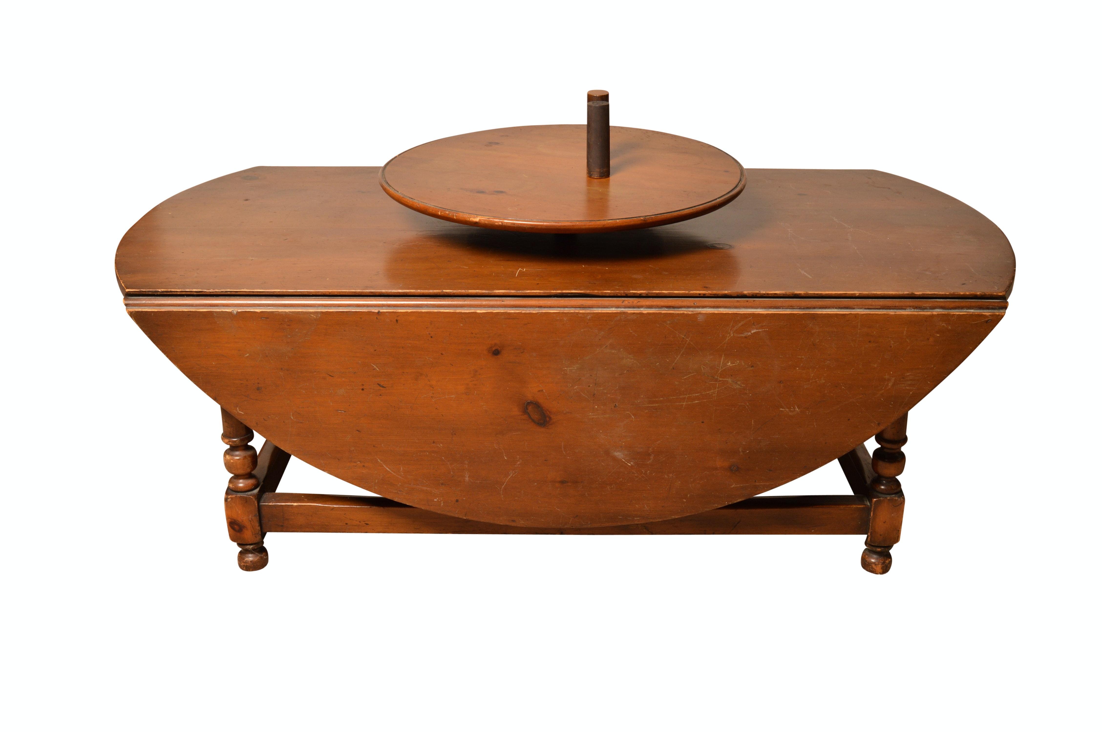 Vintage Pine Drop-Leaf Coffee Table with Lazy-Susan