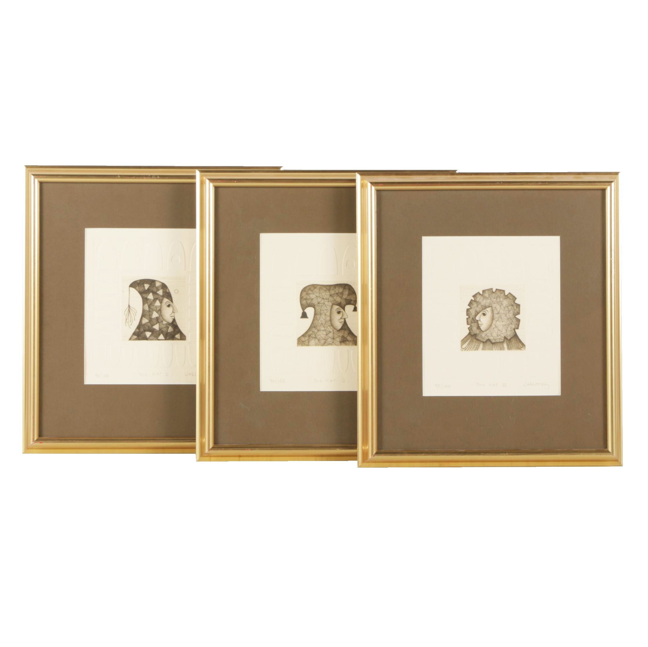 Three Carol Jablonsky Etchings with Embossment