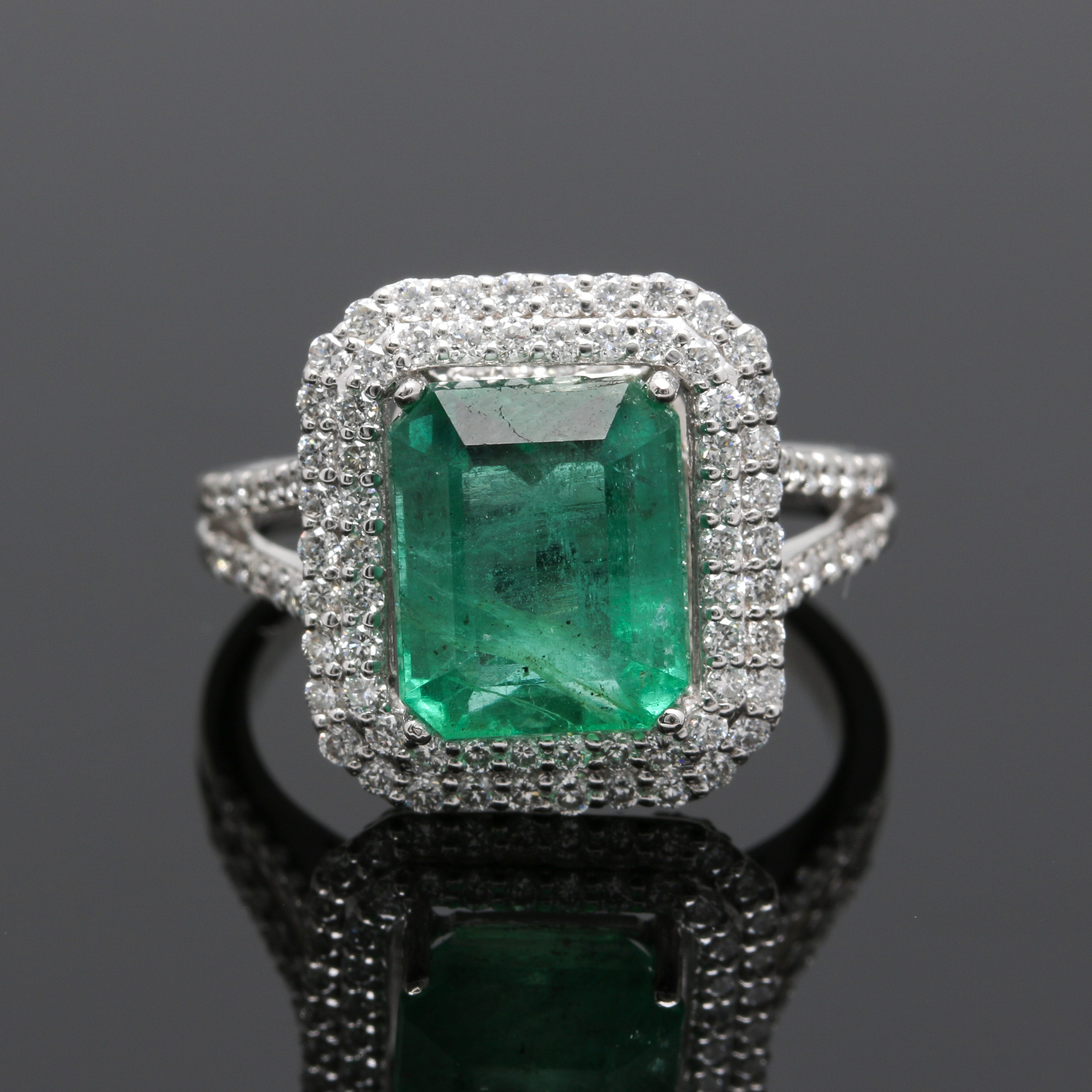 Platinum 3.46 CT Emerald and Diamond ring
