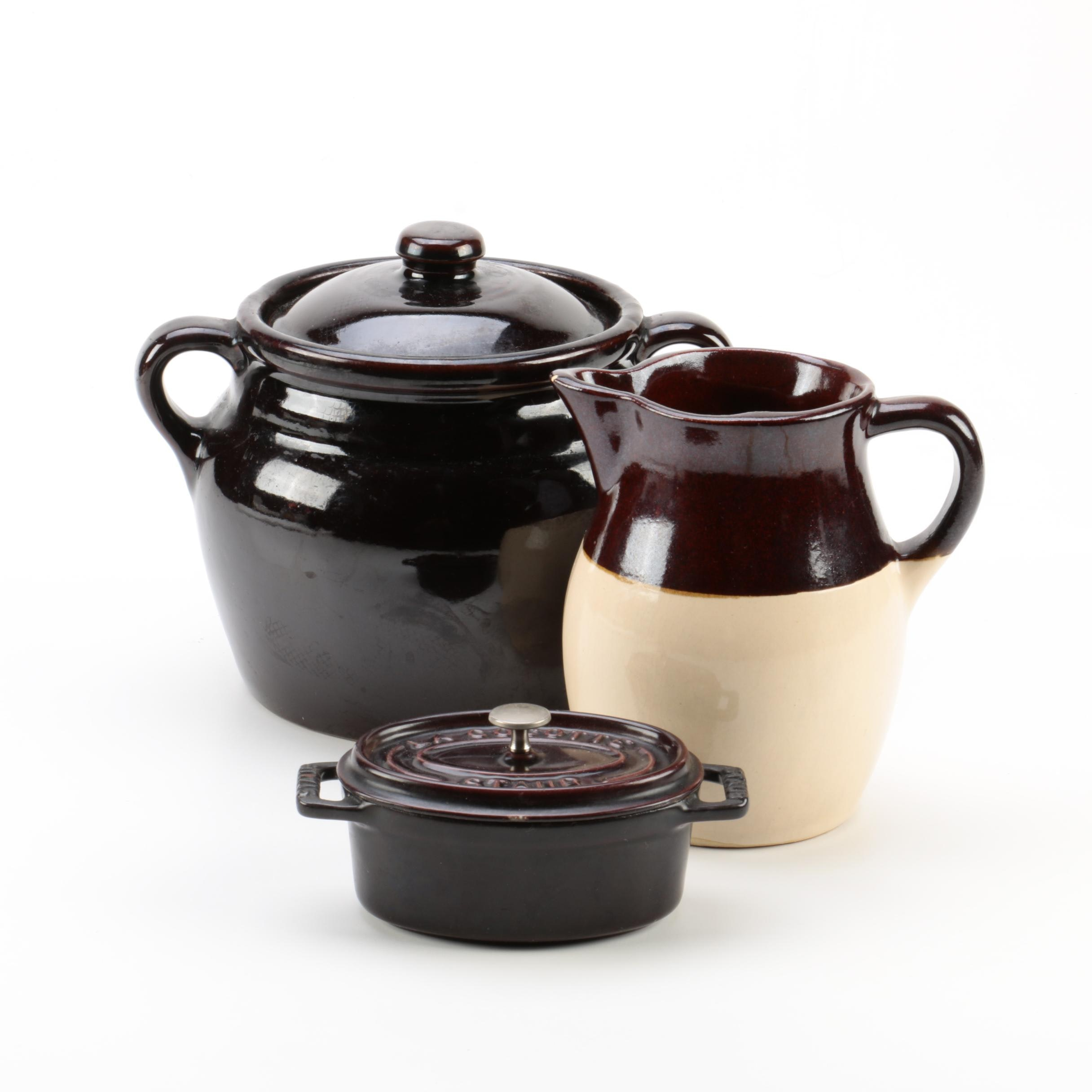 Bean Pot and Staub Iron Enamel Cocotte with a Jug