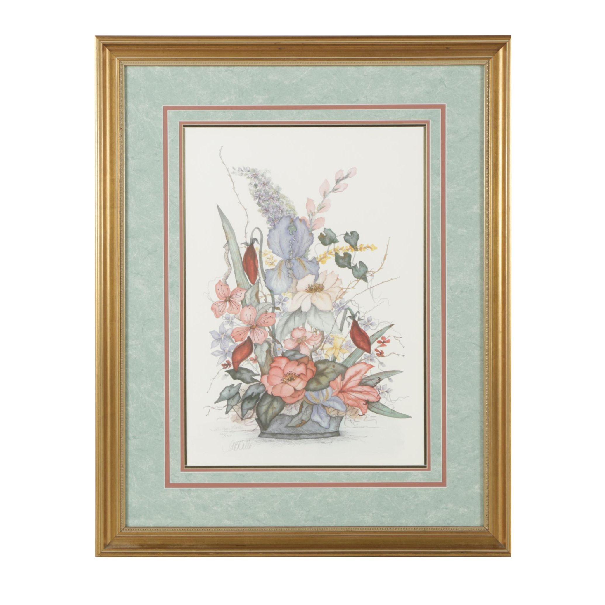 A. Renée Dollar Limited Edition Offset Lithograph of Floral Arrangement